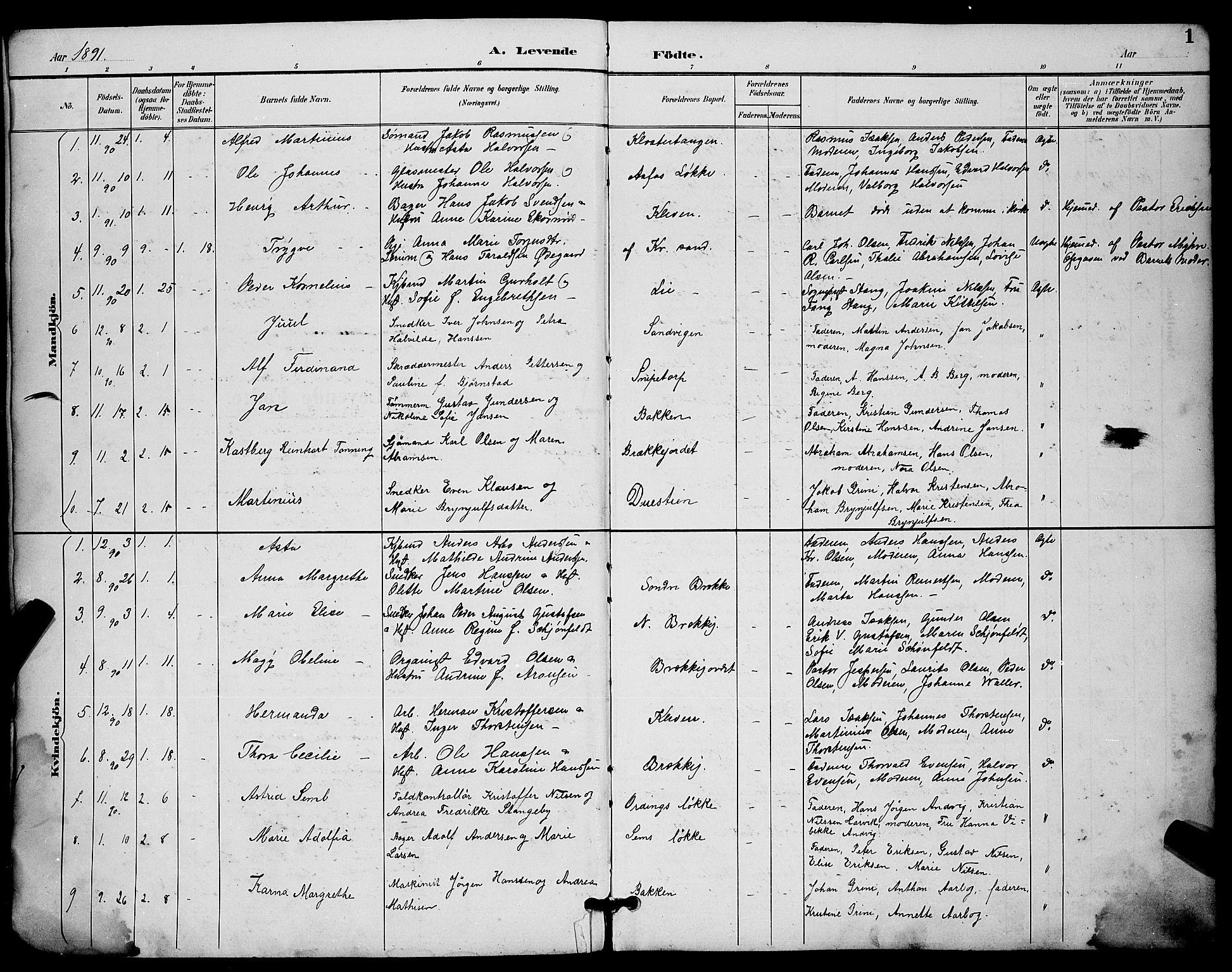 SAKO, Skien kirkebøker, G/Ga/L0007: Klokkerbok nr. 7, 1891-1900, s. 1