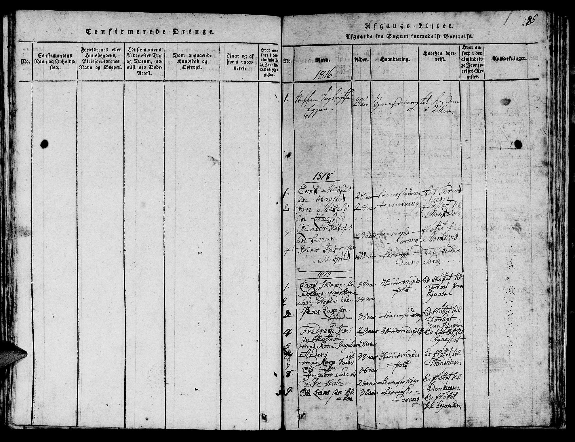 SAT, Ministerialprotokoller, klokkerbøker og fødselsregistre - Sør-Trøndelag, 613/L0393: Klokkerbok nr. 613C01, 1816-1886, s. 285