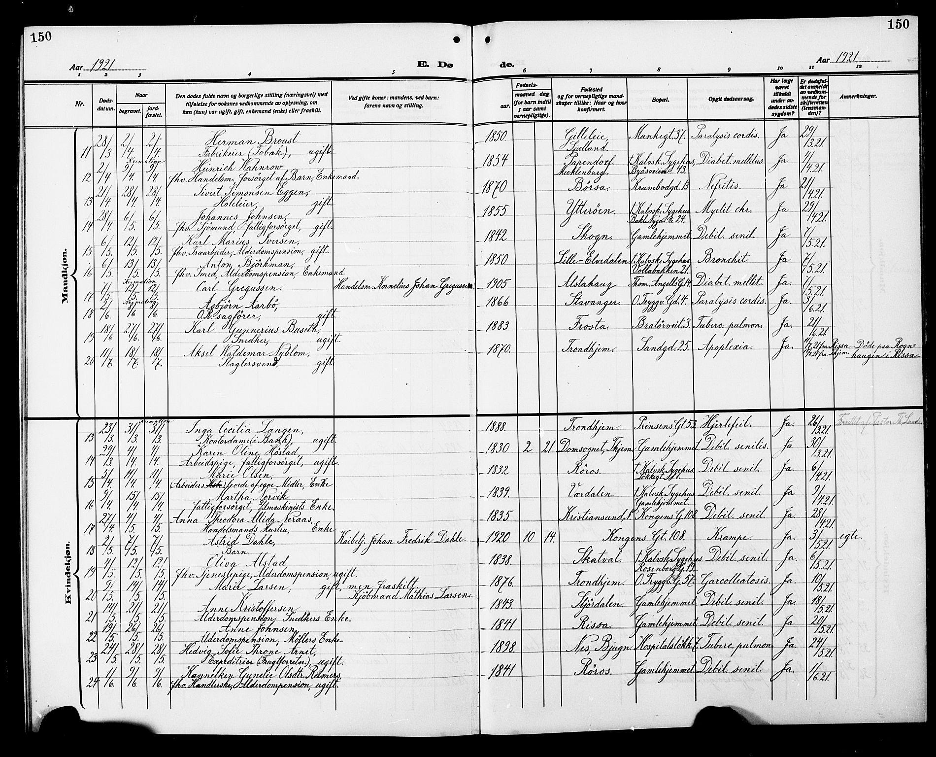 SAT, Ministerialprotokoller, klokkerbøker og fødselsregistre - Sør-Trøndelag, 602/L0147: Klokkerbok nr. 602C15, 1911-1924, s. 150