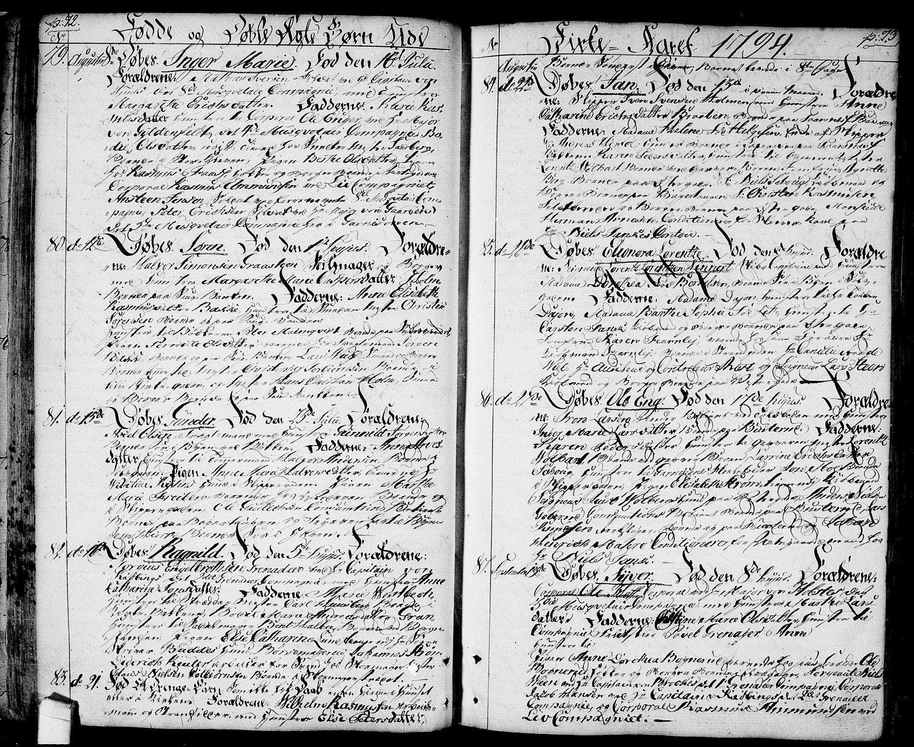 SAO, Halden prestekontor Kirkebøker, F/Fa/L0002: Ministerialbok nr. I 2, 1792-1812, s. 72-73