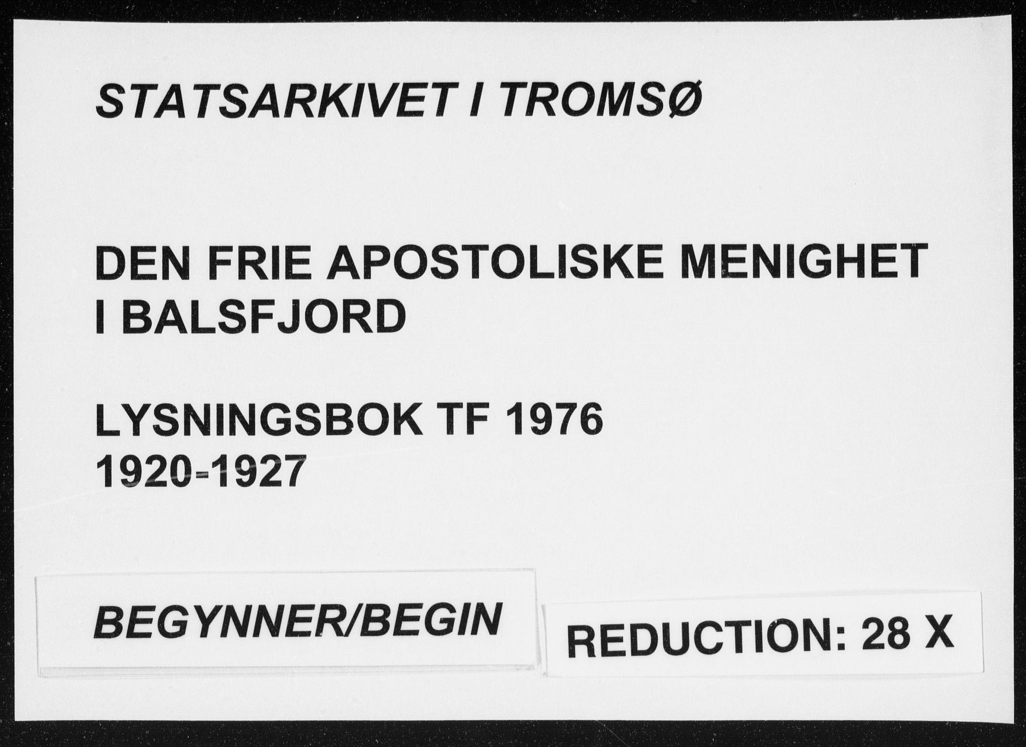 SATØ, Fylkesmannen i Troms, A7.10.1/L1976: Dissenterprotokoll nr. TF 1976, 1920-1927