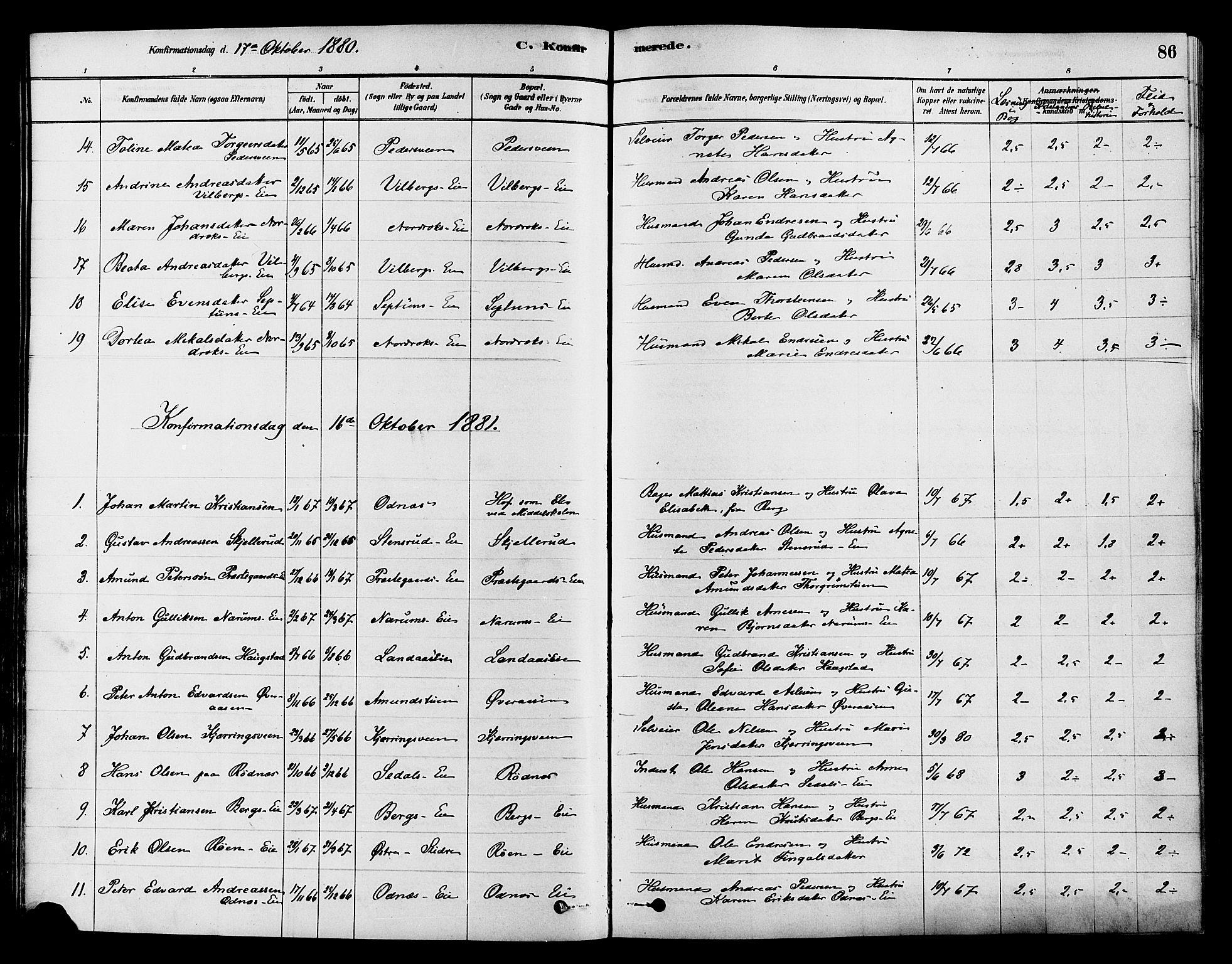 SAH, Søndre Land prestekontor, K/L0002: Ministerialbok nr. 2, 1878-1894, s. 86