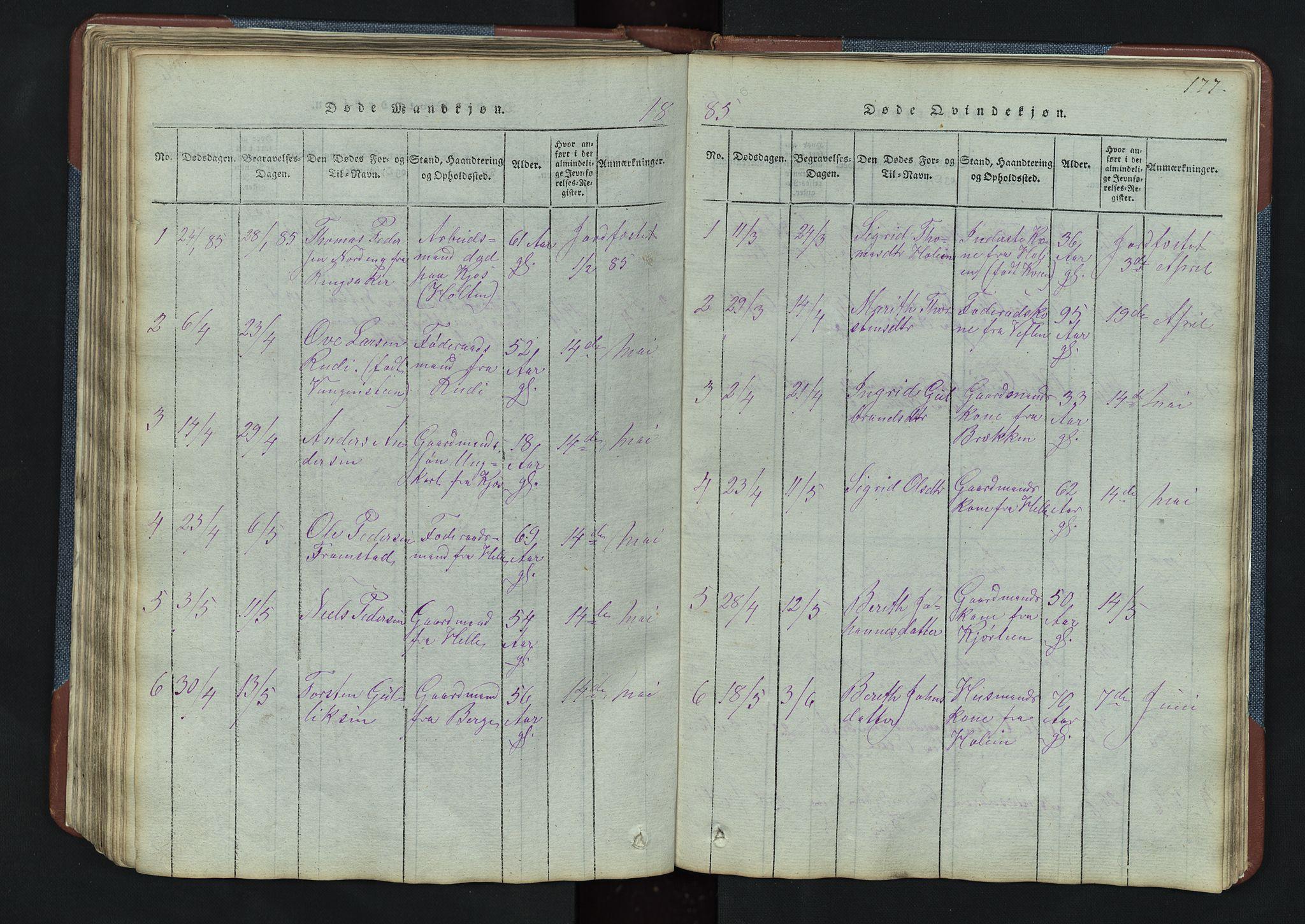 SAH, Vang prestekontor, Valdres, Klokkerbok nr. 3, 1814-1892, s. 177