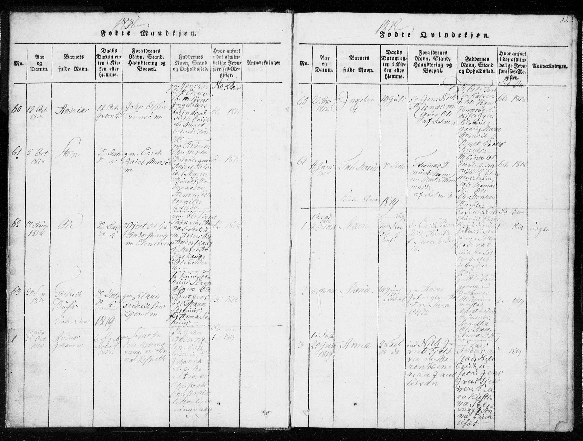 SAT, Ministerialprotokoller, klokkerbøker og fødselsregistre - Sør-Trøndelag, 634/L0527: Ministerialbok nr. 634A03, 1818-1826, s. 11