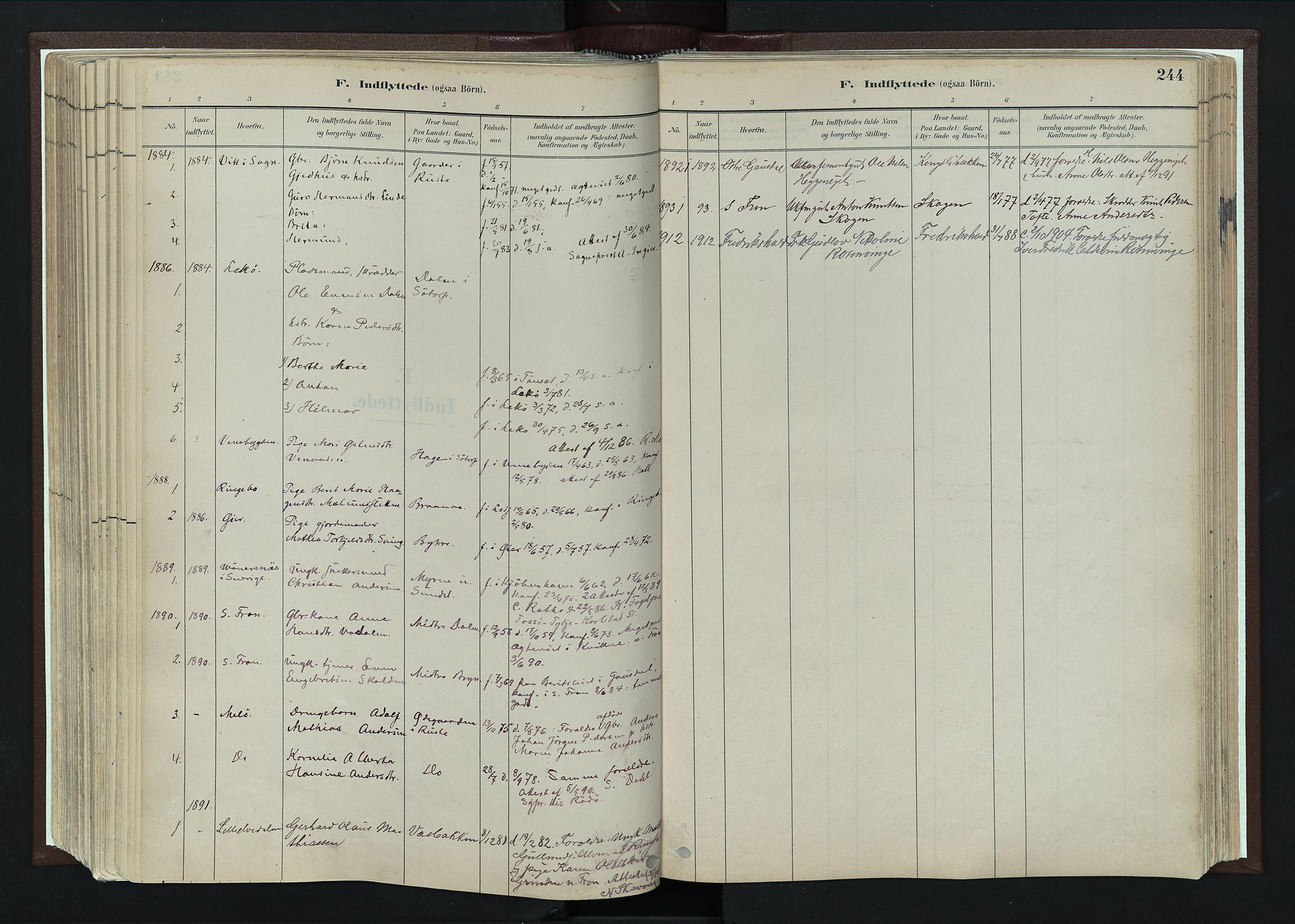 SAH, Nord-Fron prestekontor, Ministerialbok nr. 4, 1884-1914, s. 244