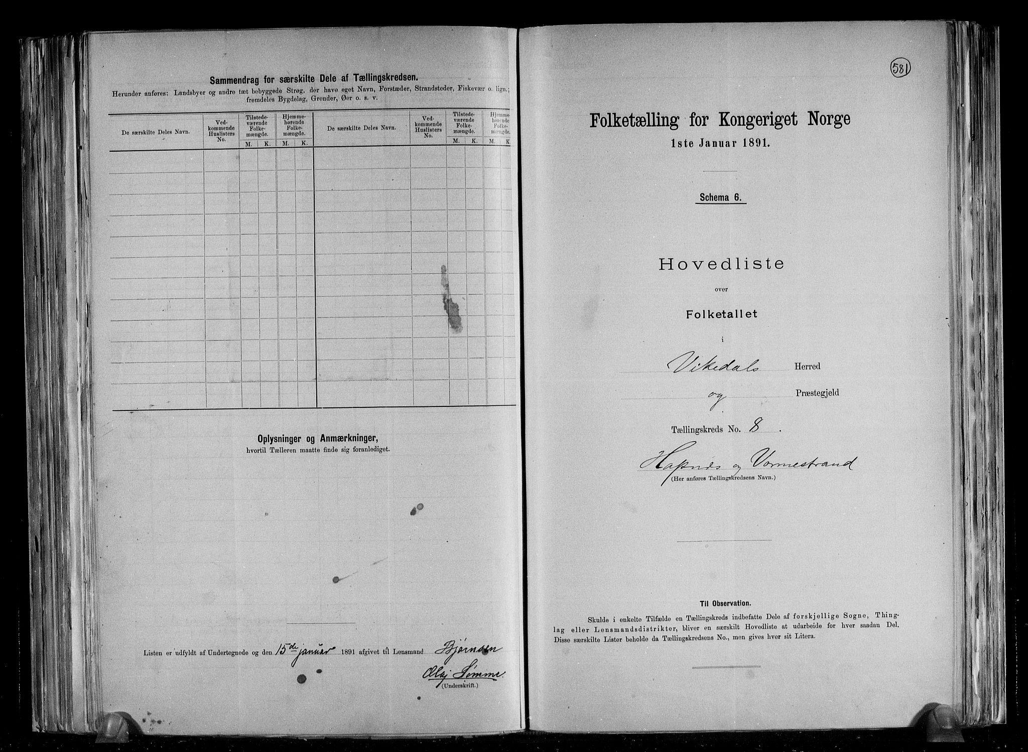 RA, Folketelling 1891 for 1157 Vikedal herred, 1891, s. 19