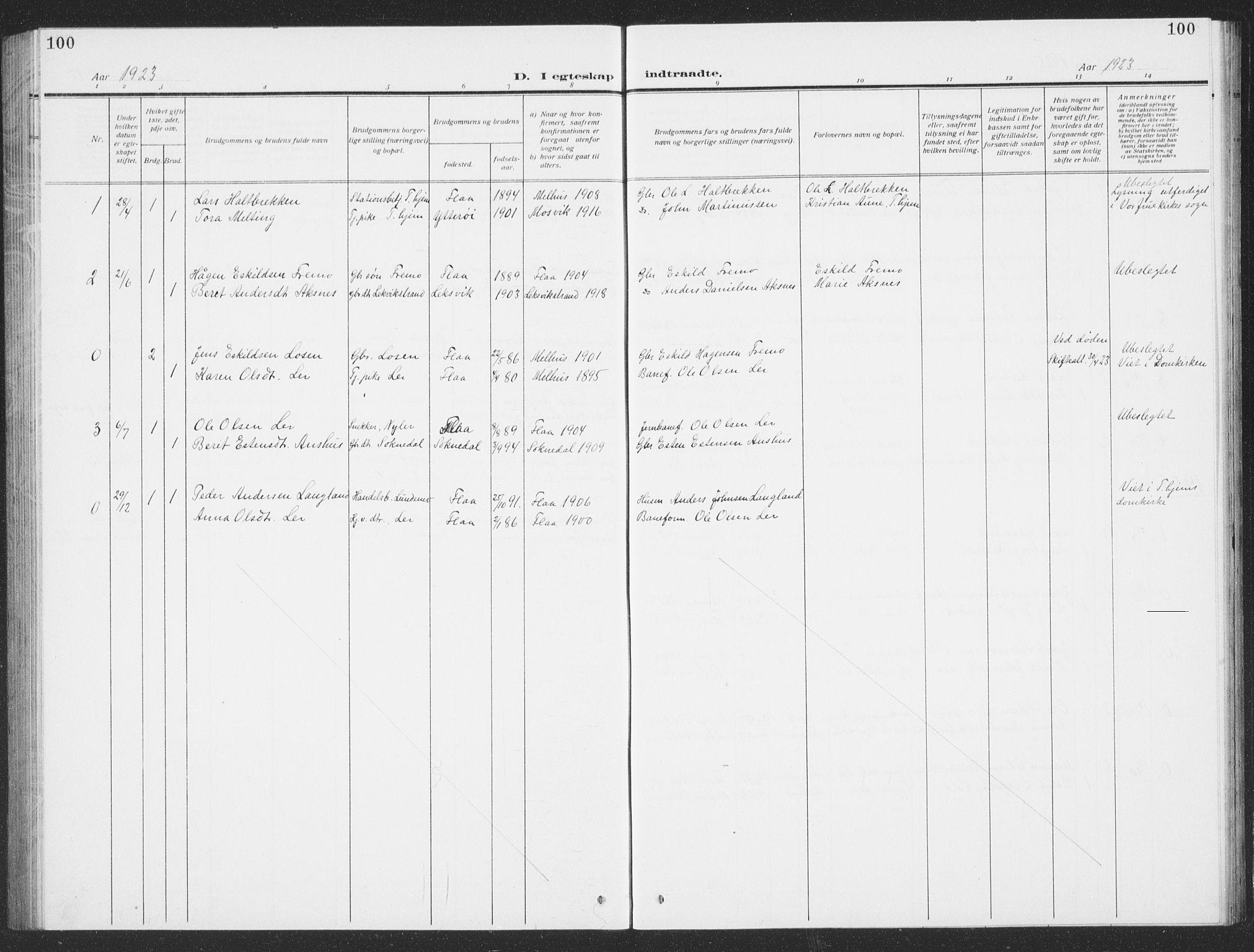 SAT, Ministerialprotokoller, klokkerbøker og fødselsregistre - Sør-Trøndelag, 693/L1124: Klokkerbok nr. 693C05, 1911-1941, s. 100