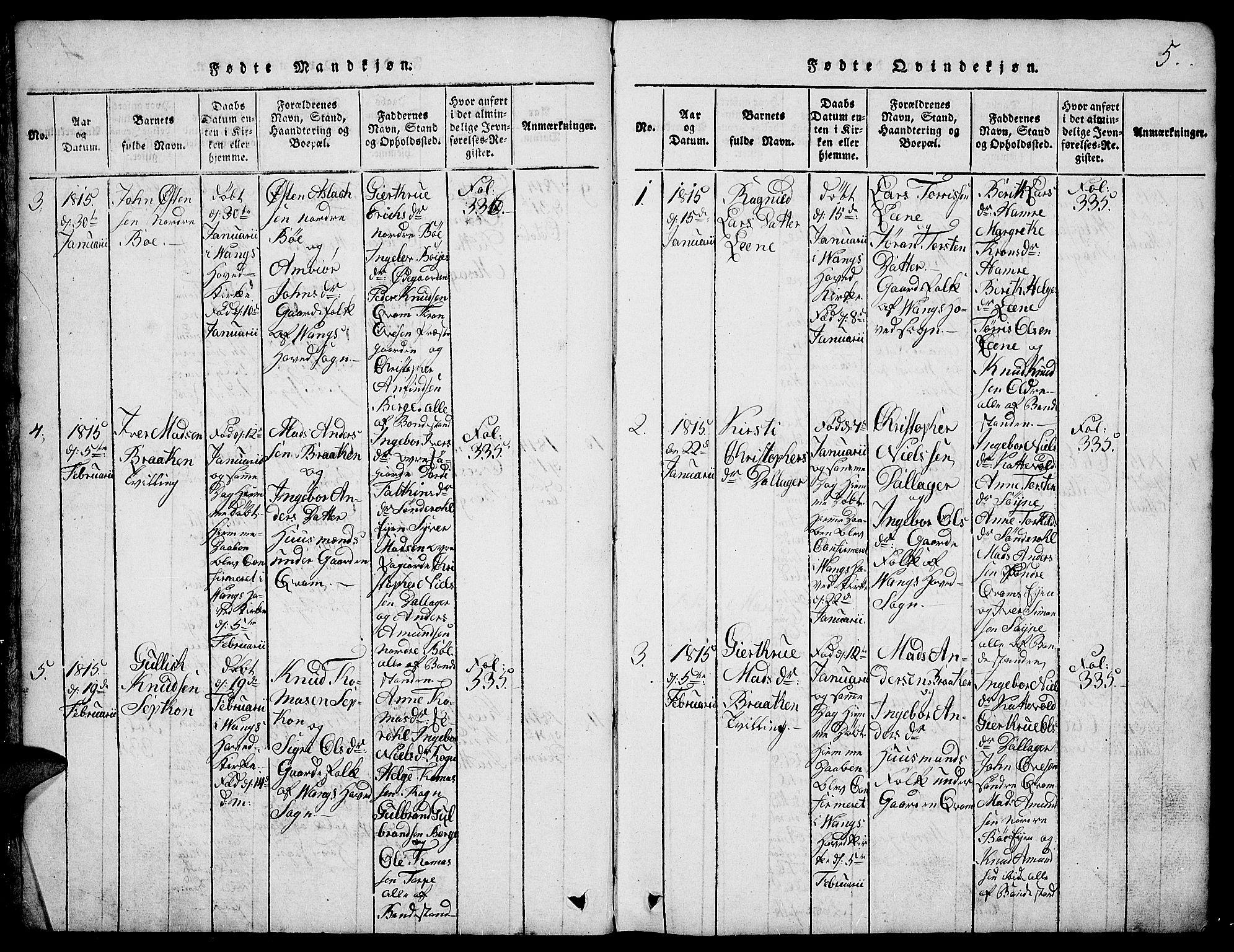 SAH, Vang prestekontor, Valdres, Klokkerbok nr. 2, 1814-1889, s. 5