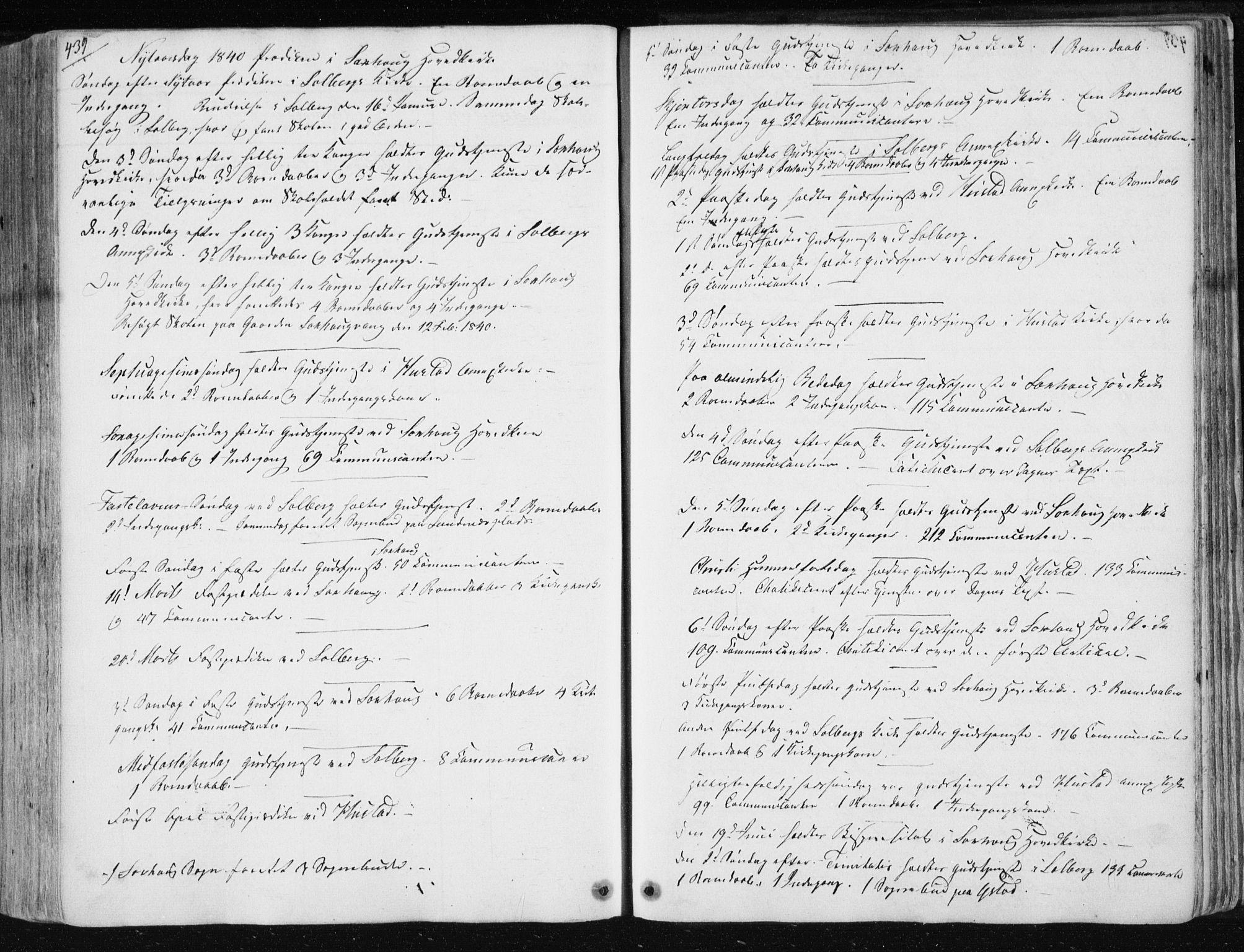 SAT, Ministerialprotokoller, klokkerbøker og fødselsregistre - Nord-Trøndelag, 730/L0280: Ministerialbok nr. 730A07 /1, 1840-1854, s. 439