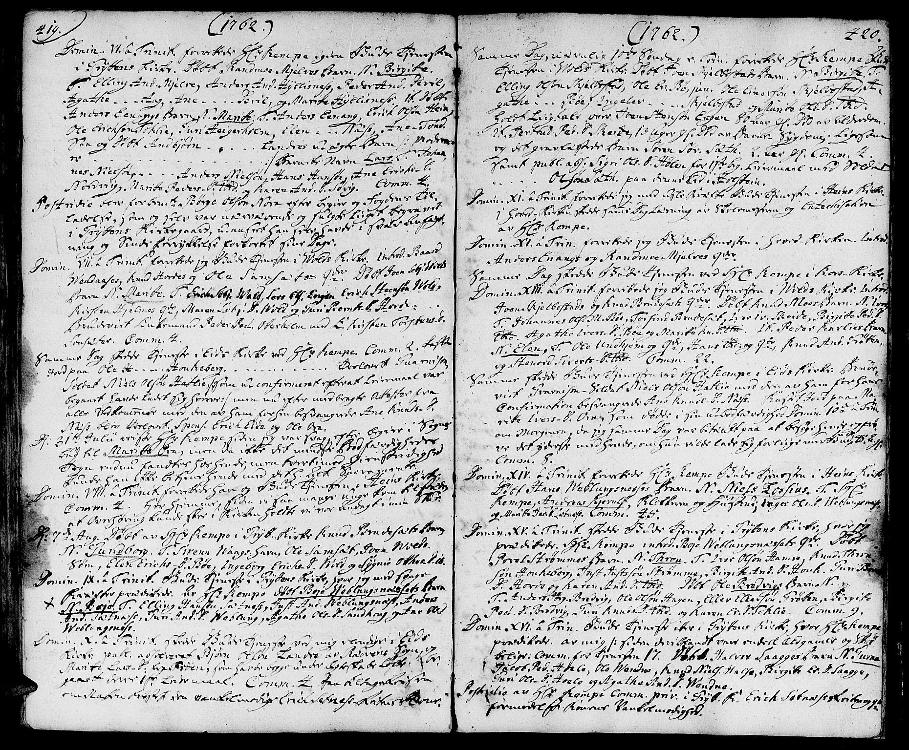 SAT, Ministerialprotokoller, klokkerbøker og fødselsregistre - Møre og Romsdal, 544/L0568: Ministerialbok nr. 544A01, 1725-1763, s. 419-420