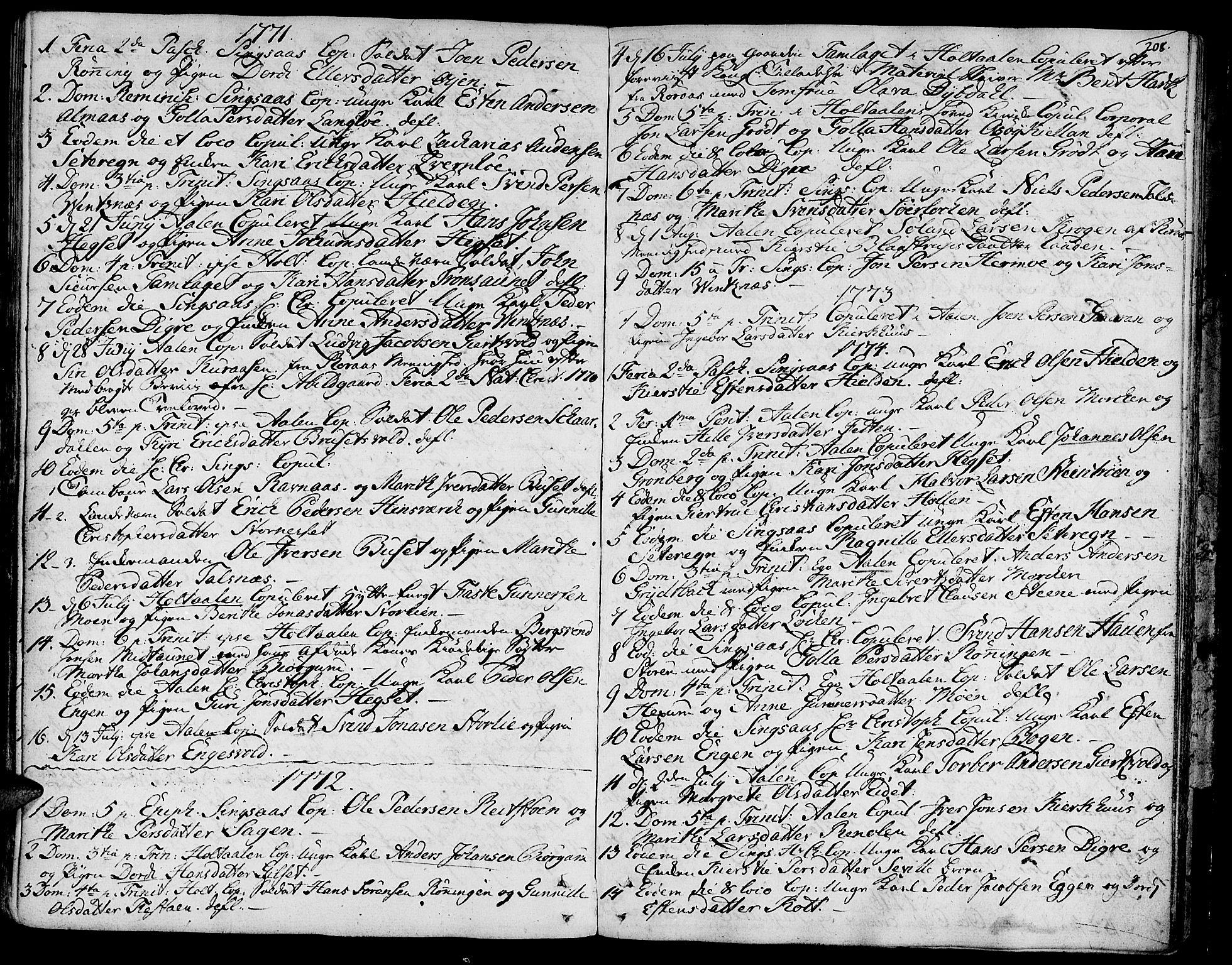 SAT, Ministerialprotokoller, klokkerbøker og fødselsregistre - Sør-Trøndelag, 685/L0952: Ministerialbok nr. 685A01, 1745-1804, s. 208