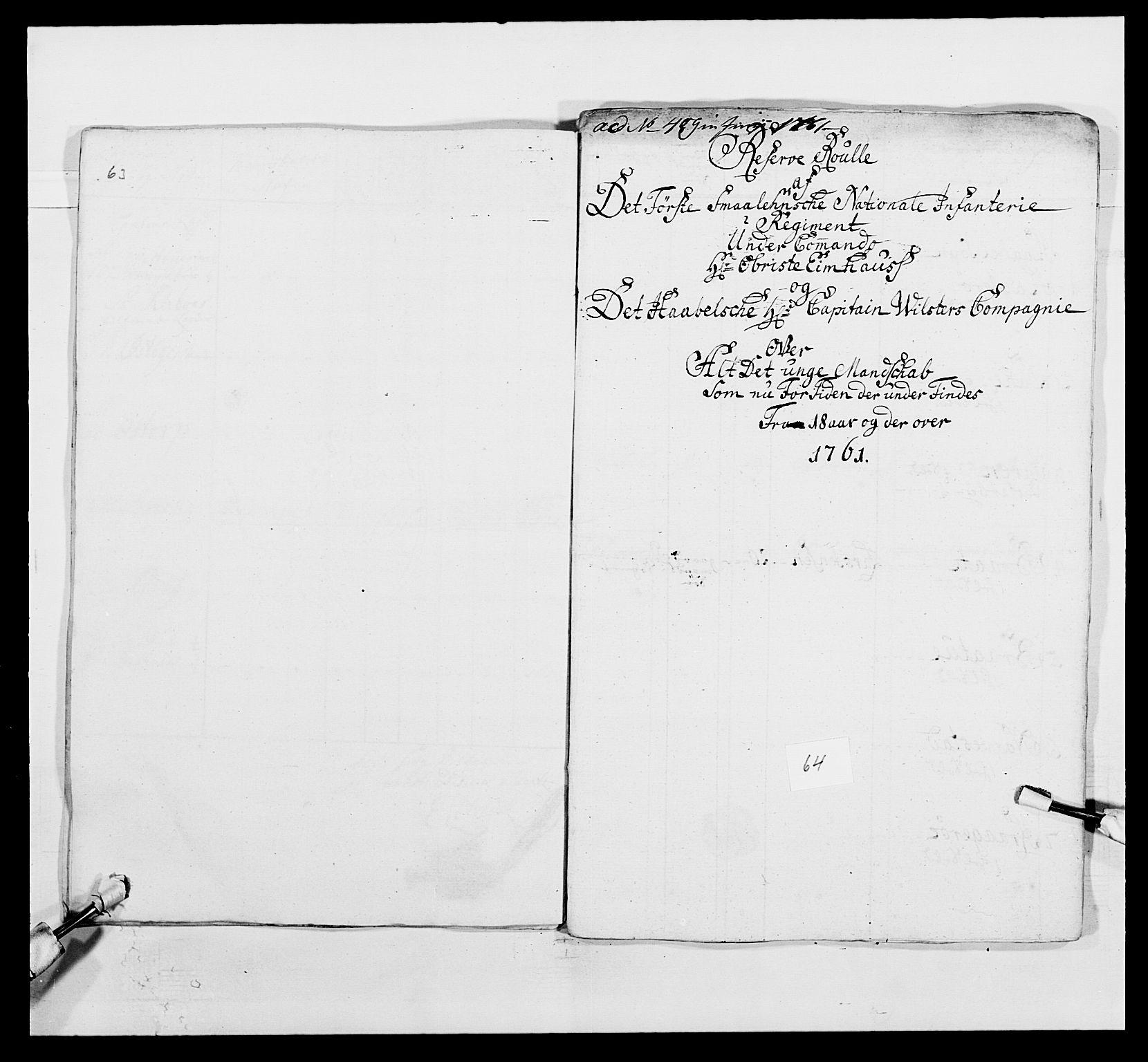 RA, Kommanderende general (KG I) med Det norske krigsdirektorium, E/Ea/L0495: 1. Smålenske regiment, 1732-1763, s. 796