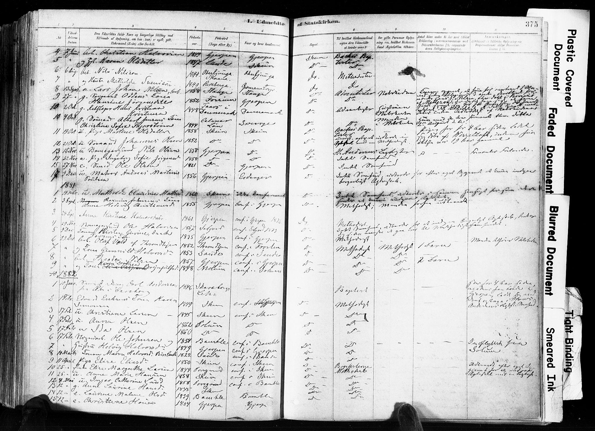 SAKO, Skien kirkebøker, F/Fa/L0009: Ministerialbok nr. 9, 1878-1890, s. 375