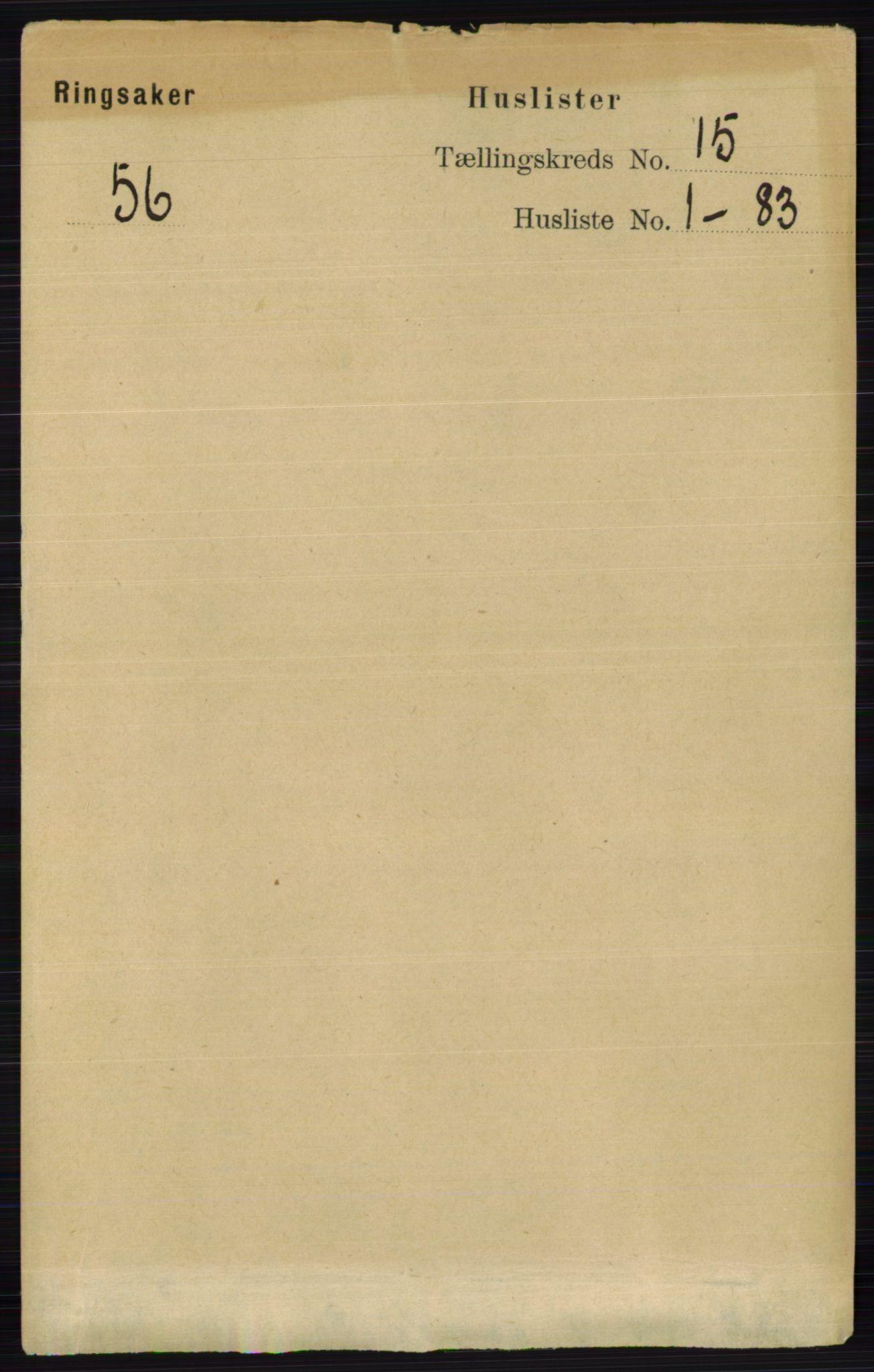 RA, Folketelling 1891 for 0412 Ringsaker herred, 1891, s. 8397
