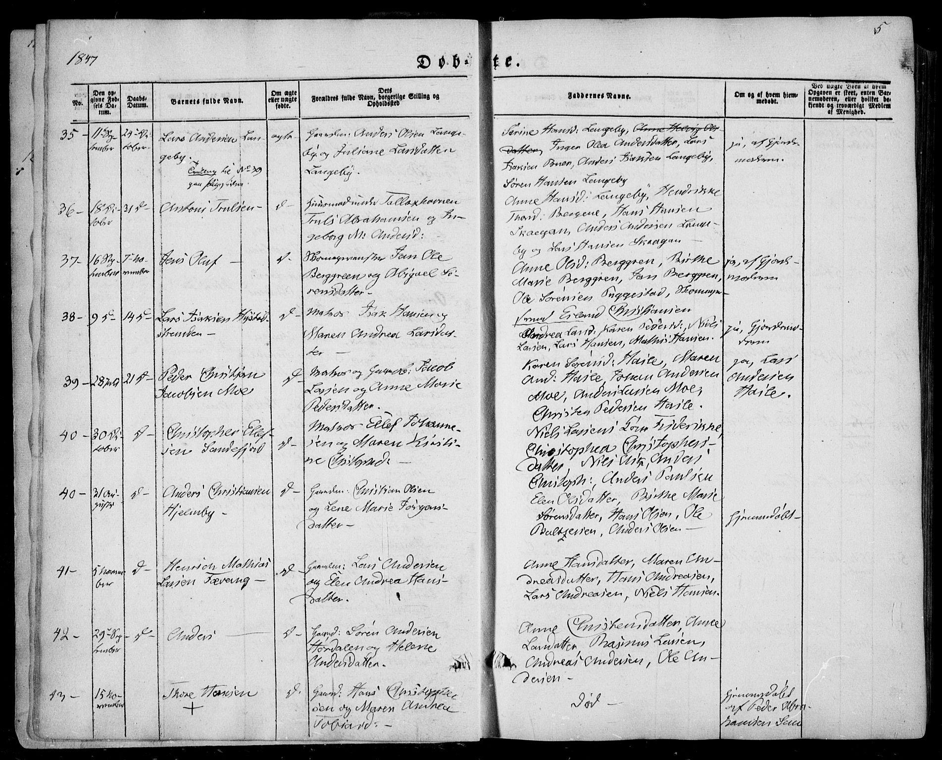 SAKO, Sandar kirkebøker, F/Fa/L0006: Ministerialbok nr. 6, 1847-1860, s. 5a