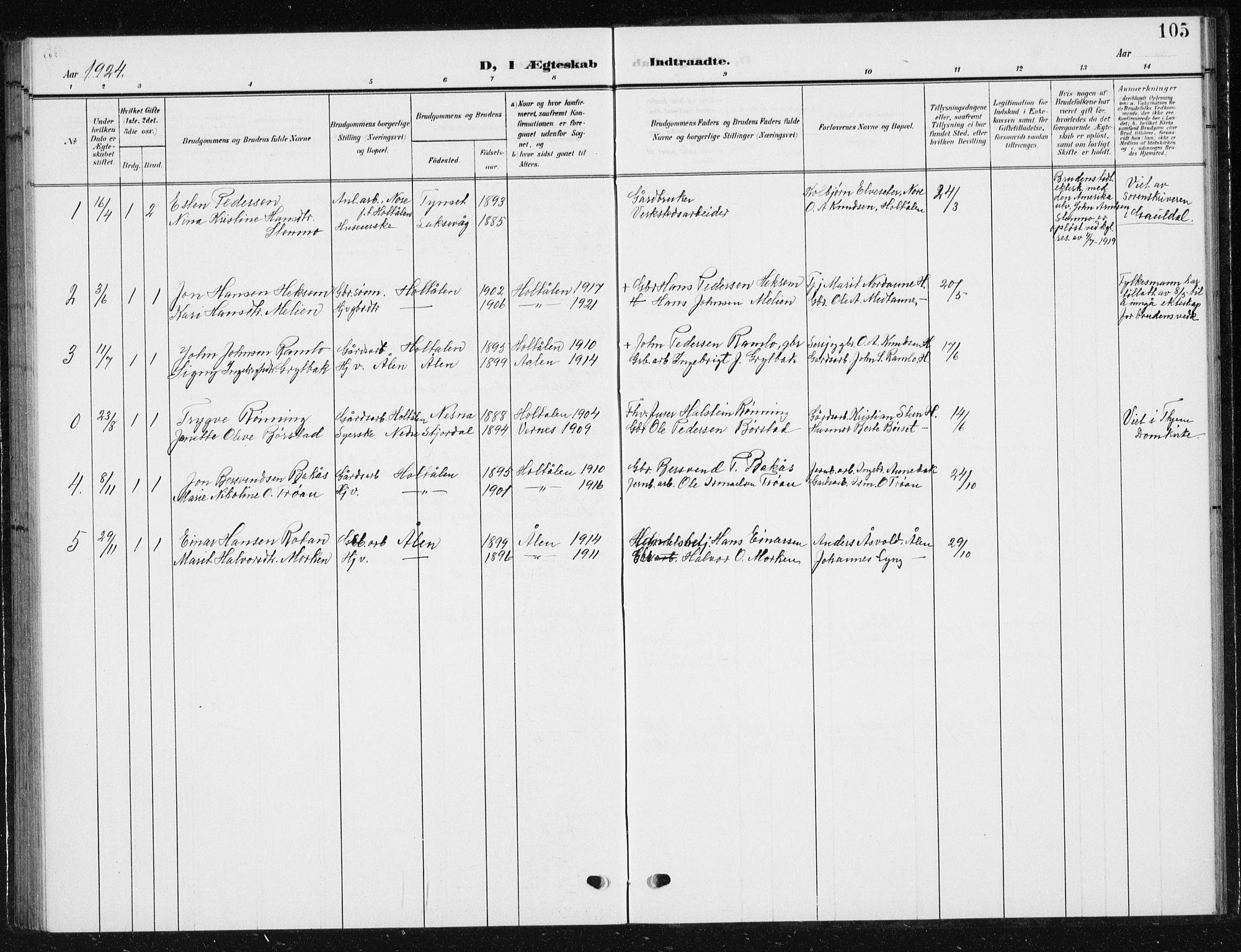 SAT, Ministerialprotokoller, klokkerbøker og fødselsregistre - Sør-Trøndelag, 685/L0979: Klokkerbok nr. 685C04, 1908-1933, s. 105
