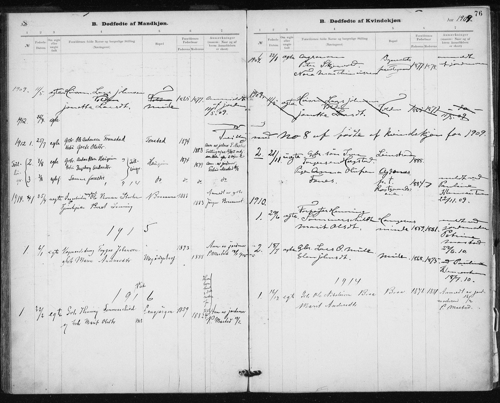 SAT, Ministerialprotokoller, klokkerbøker og fødselsregistre - Sør-Trøndelag, 612/L0381: Ministerialbok nr. 612A13, 1907-1923, s. 76
