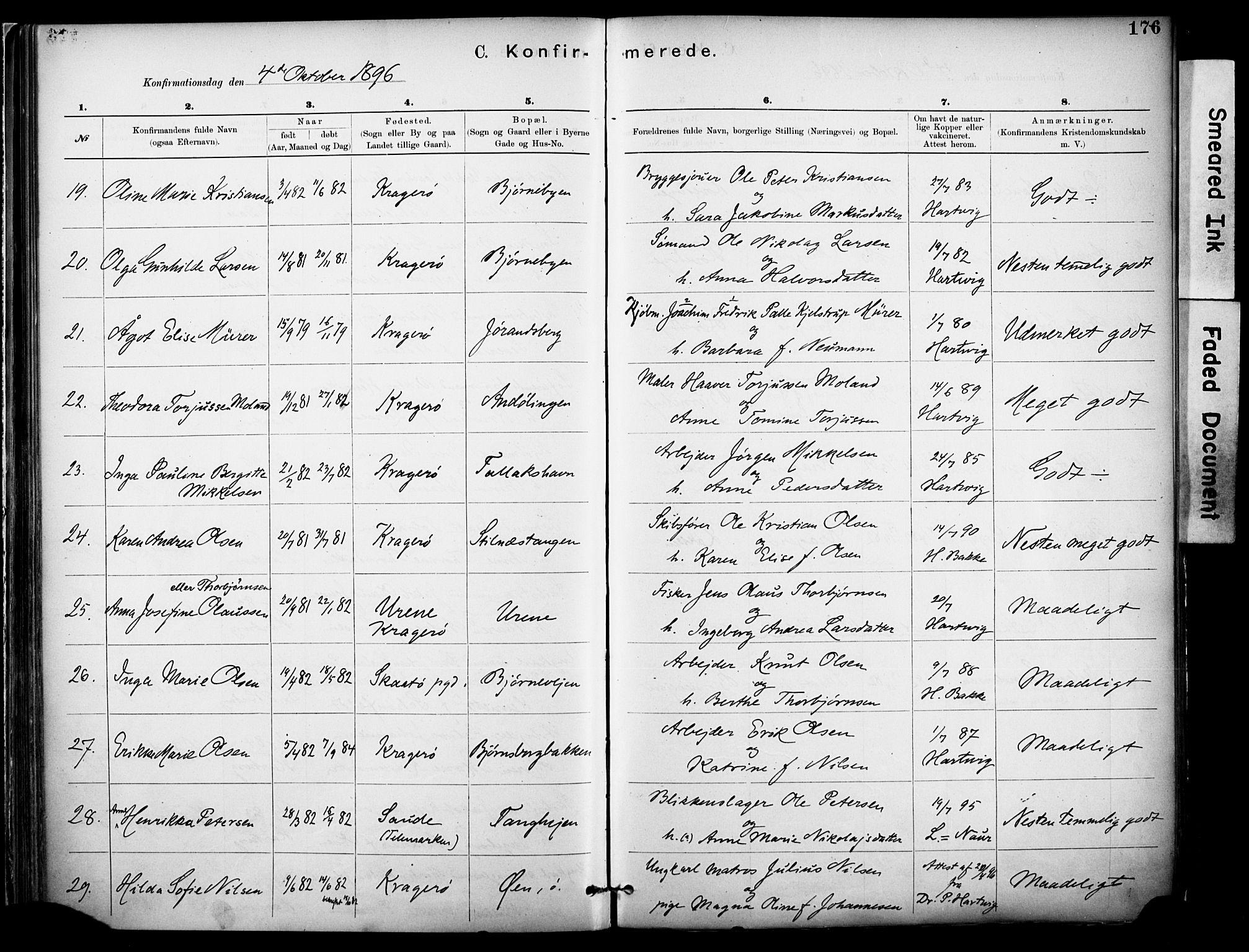 SAKO, Kragerø kirkebøker, F/Fa/L0012: Ministerialbok nr. I 12, 1880-1904, s. 176