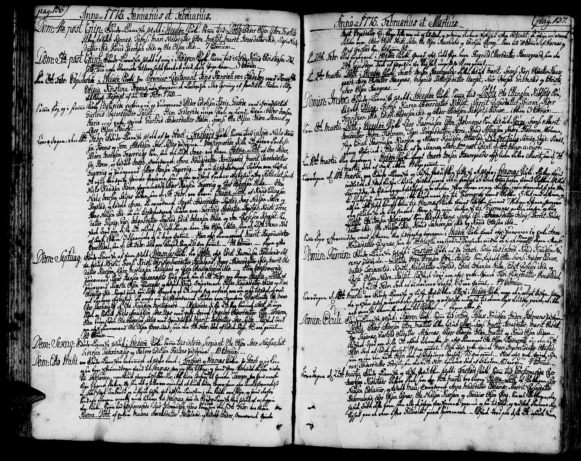SAT, Ministerialprotokoller, klokkerbøker og fødselsregistre - Møre og Romsdal, 547/L0600: Ministerialbok nr. 547A02, 1765-1799, s. 136-137