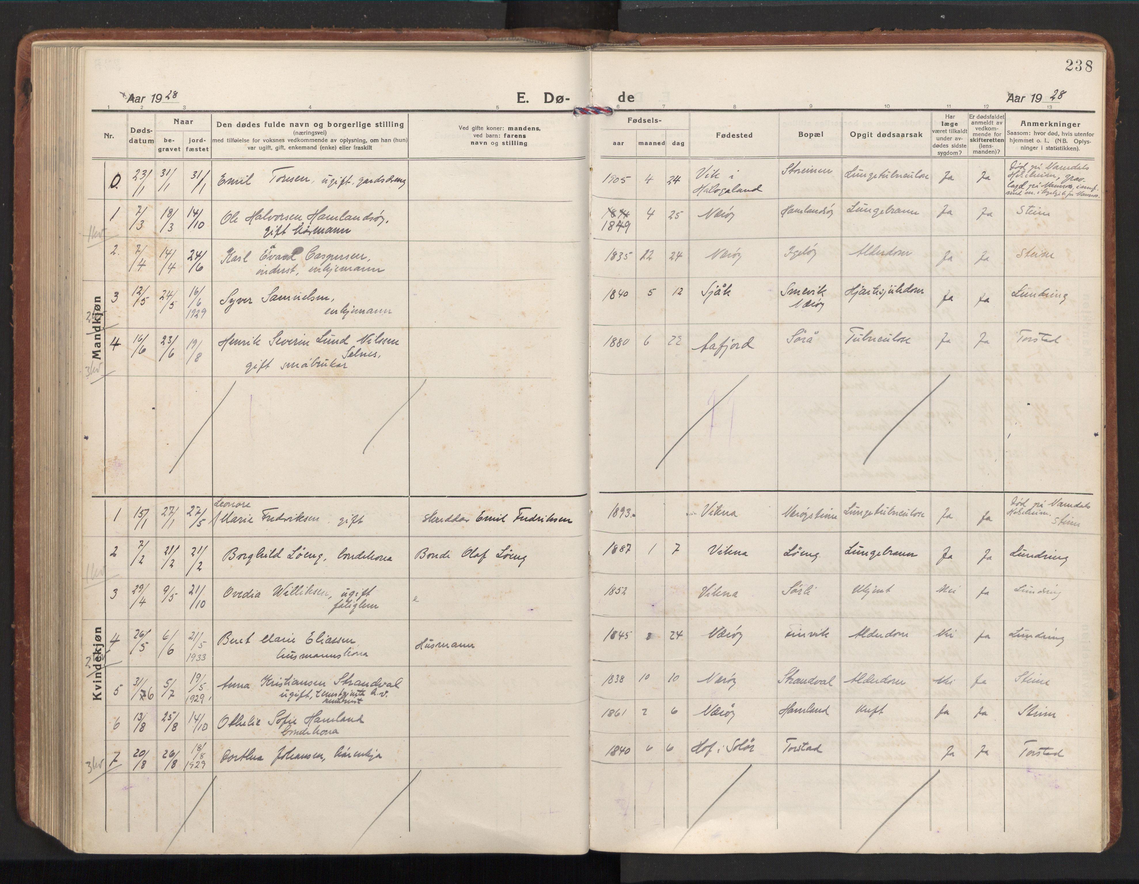 SAT, Ministerialprotokoller, klokkerbøker og fødselsregistre - Nord-Trøndelag, 784/L0678: Ministerialbok nr. 784A13, 1921-1938, s. 238