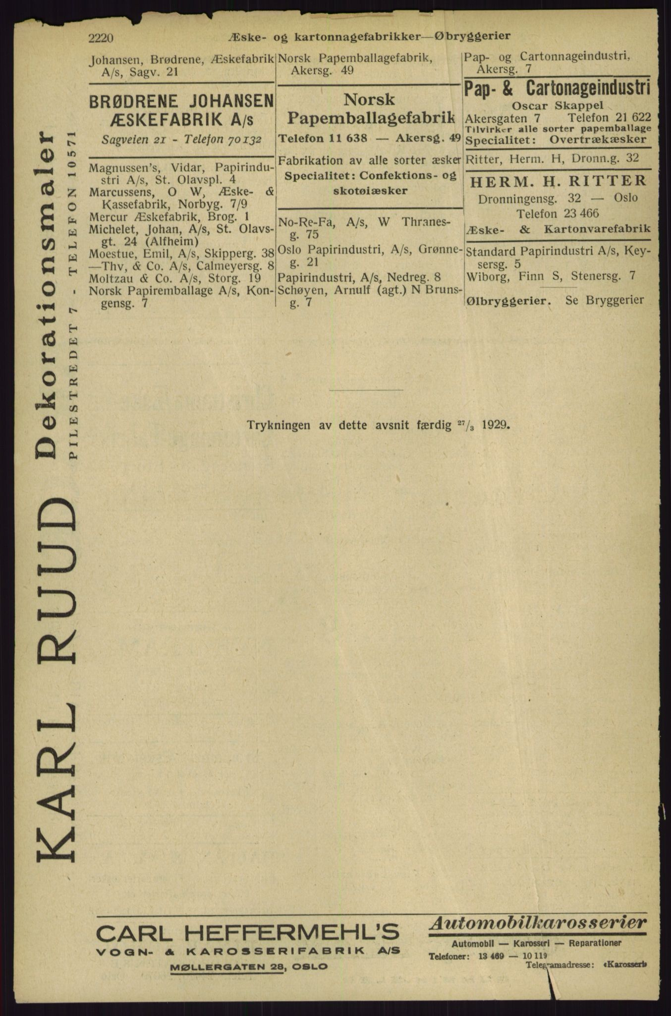 RA, Oslo adressebok (publikasjon)*, 1929, s. 2220