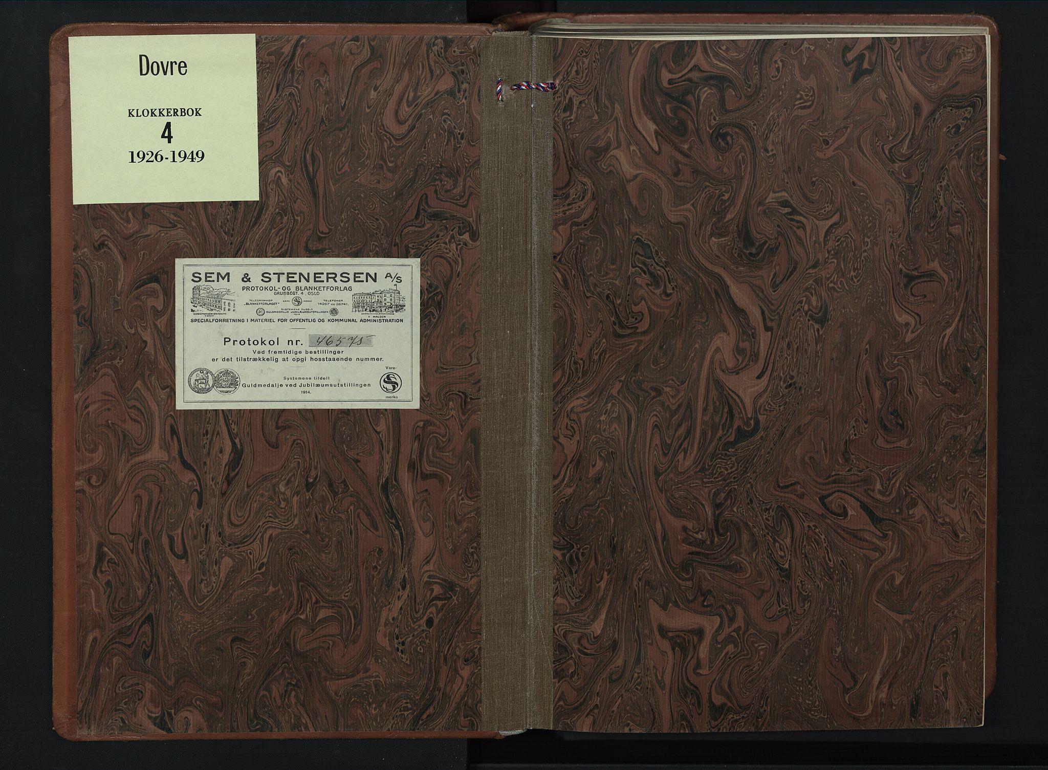 SAH, Dovre prestekontor, Klokkerbok nr. 4, 1926-1949