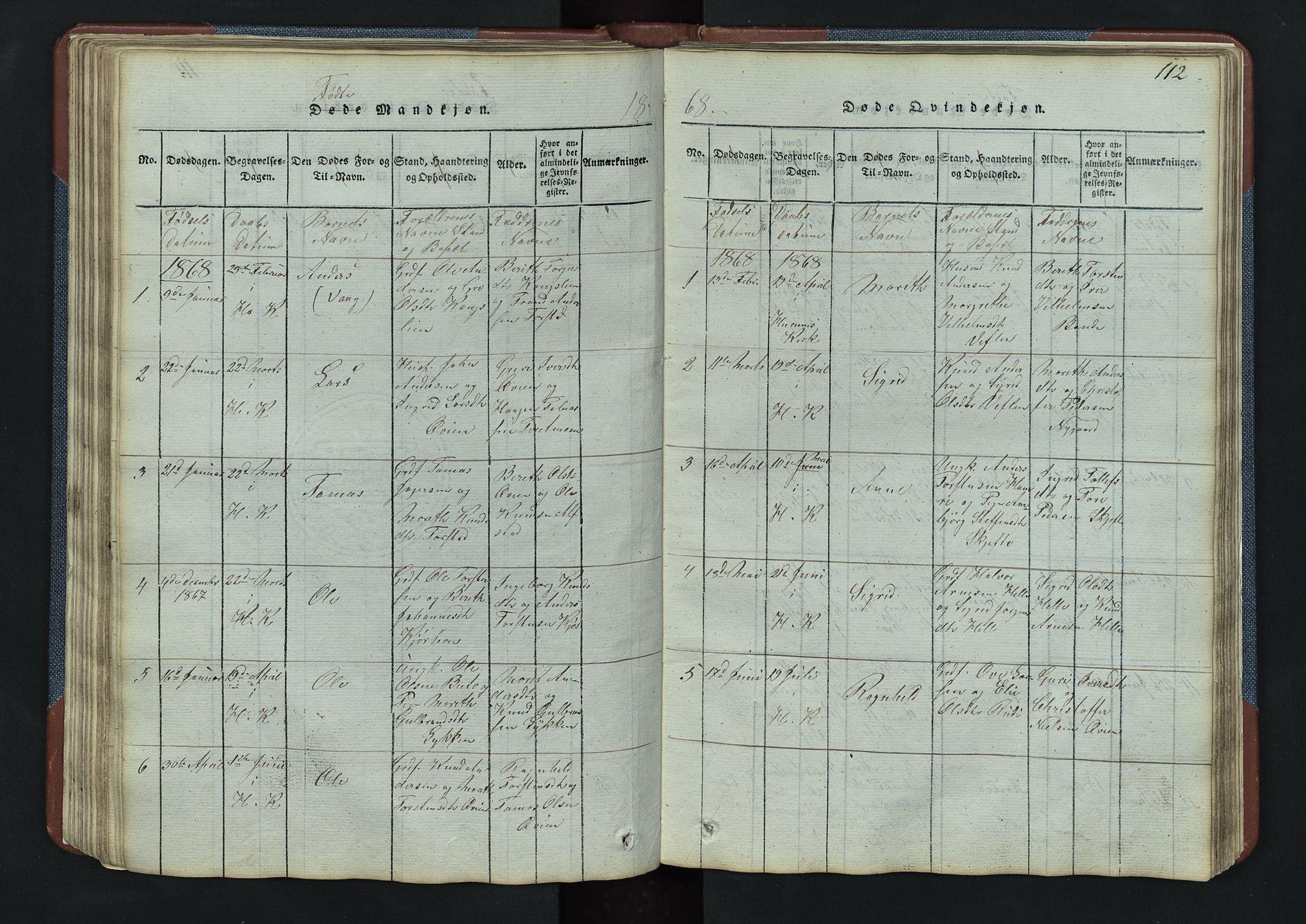 SAH, Vang prestekontor, Valdres, Klokkerbok nr. 3, 1814-1892, s. 112