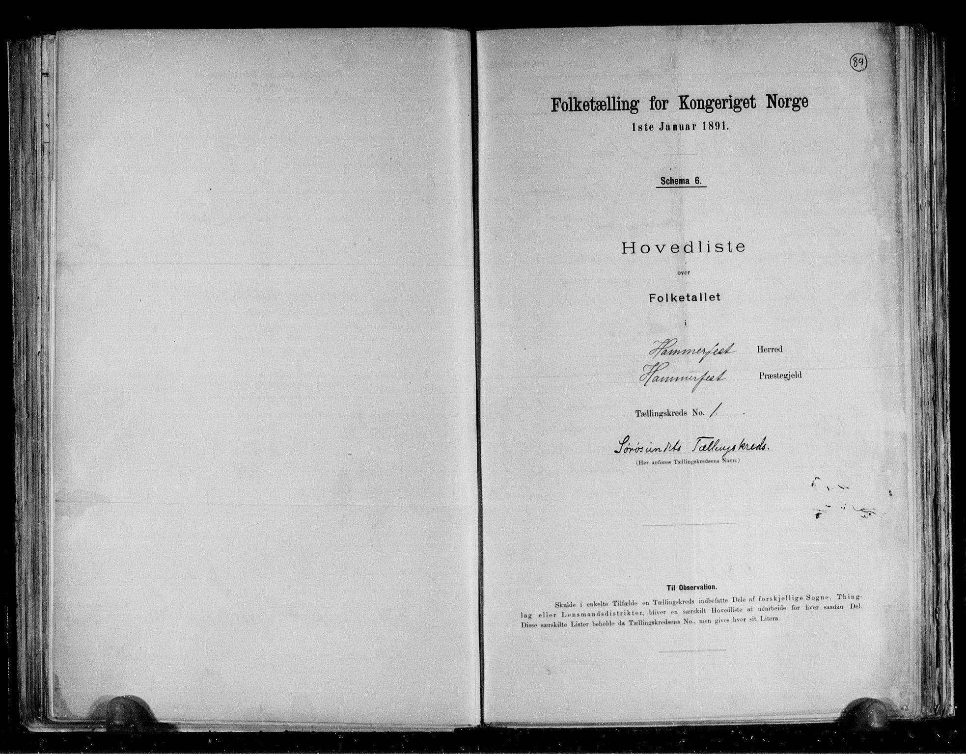 RA, Folketelling 1891 for 2016 Hammerfest herred, 1891, s. 4