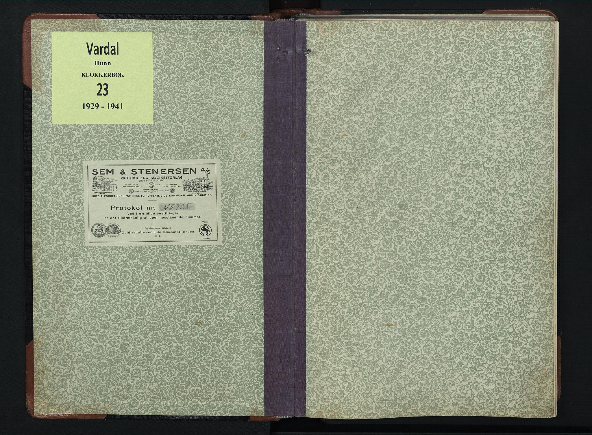 SAH, Vardal prestekontor, H/Ha/Hab/L0023: Klokkerbok nr. 23, 1929-1941