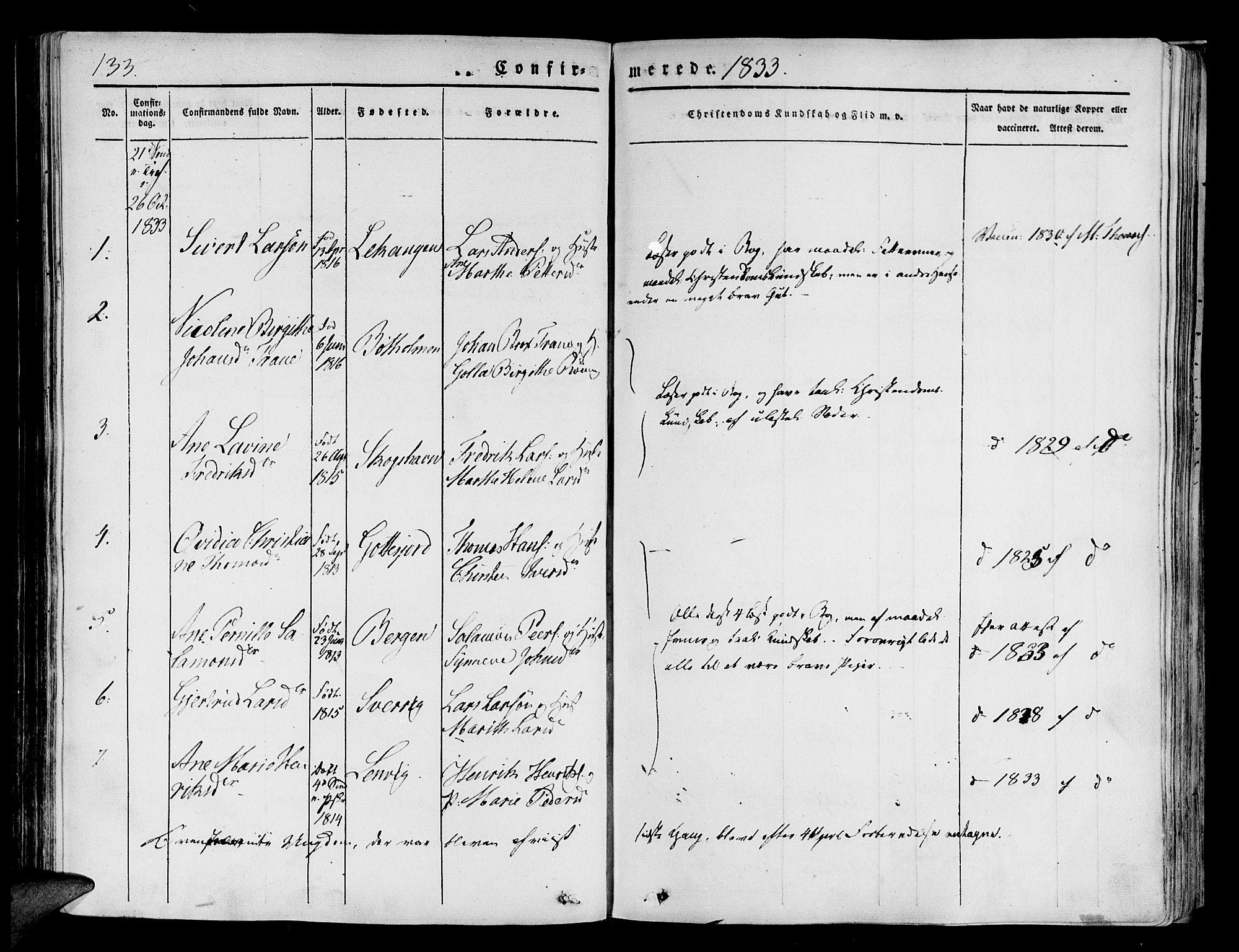SATØ, Tranøy sokneprestkontor, I/Ia/Iaa/L0005kirke: Ministerialbok nr. 5, 1829-1844, s. 133