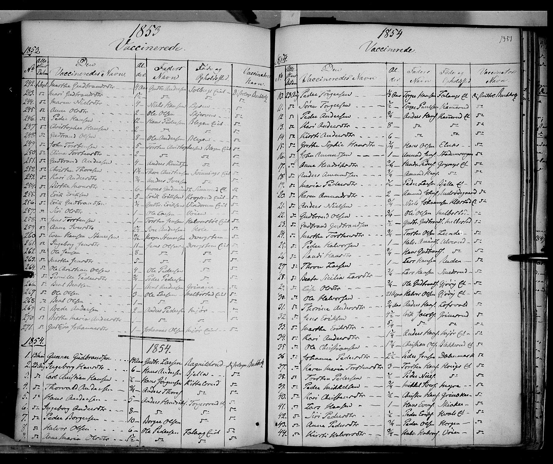 SAH, Gran prestekontor, Ministerialbok nr. 11, 1842-1856, s. 1350-1351