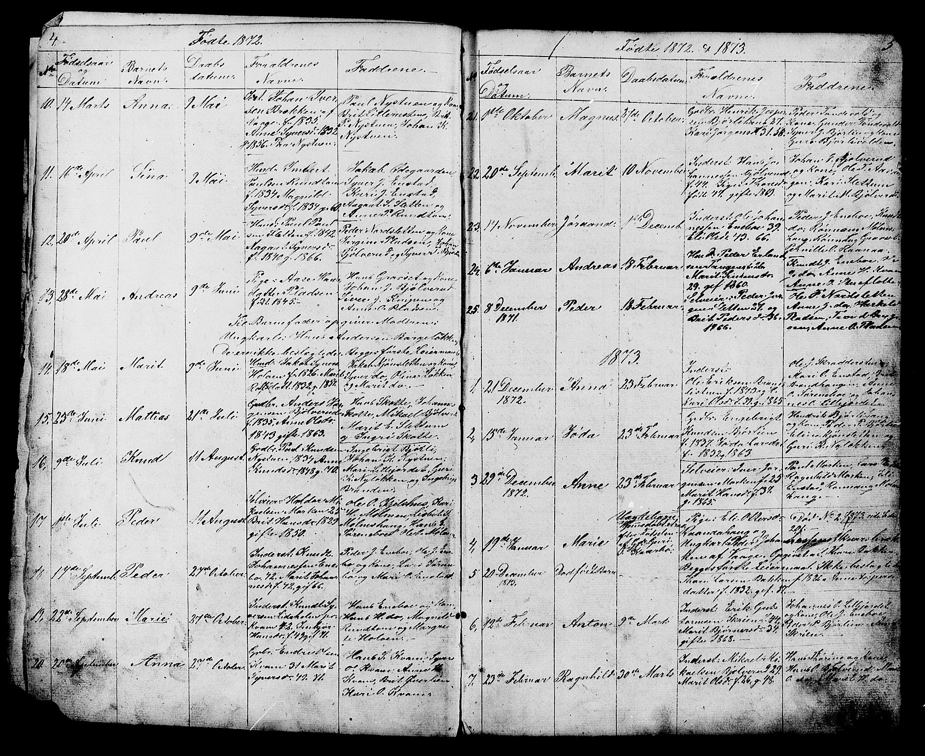 SAH, Lesja prestekontor, Klokkerbok nr. 6, 1871-1904, s. 4-5