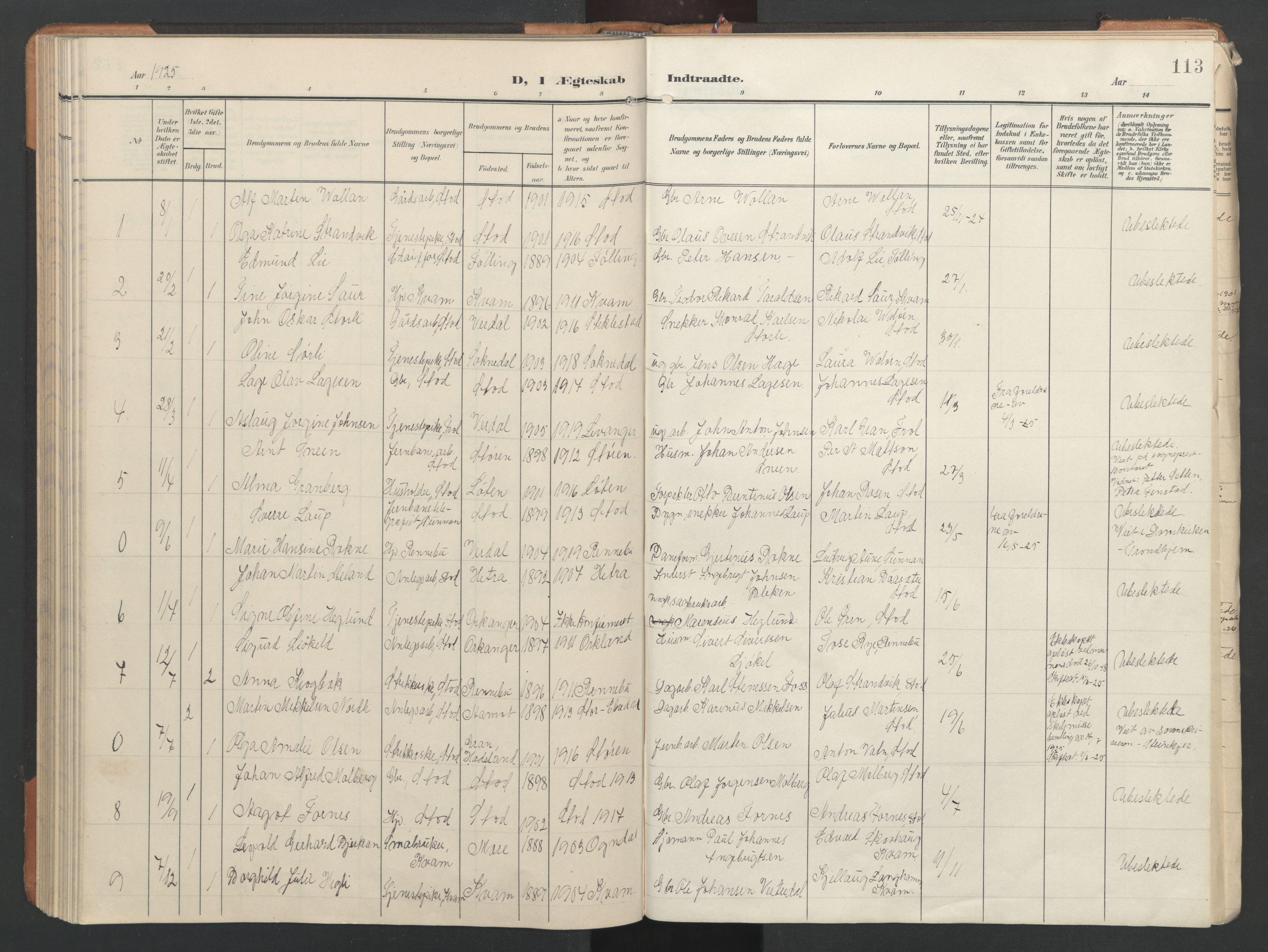 SAT, Ministerialprotokoller, klokkerbøker og fødselsregistre - Nord-Trøndelag, 746/L0455: Klokkerbok nr. 746C01, 1908-1933, s. 113