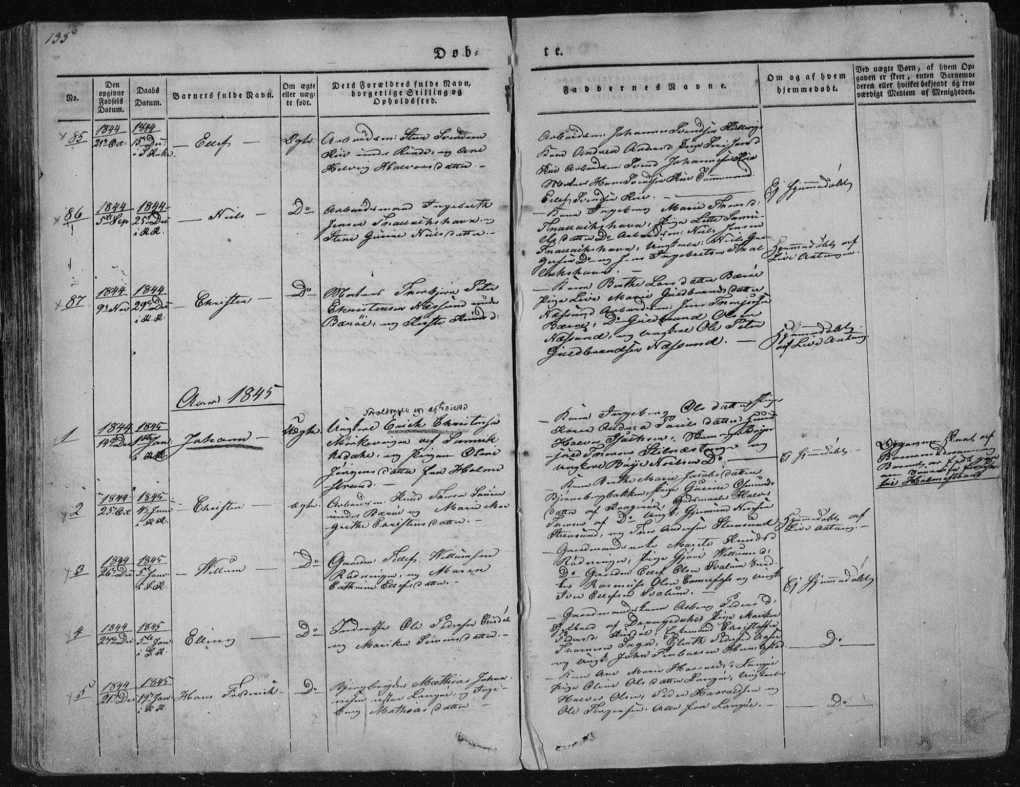 SAKO, Sannidal kirkebøker, F/Fa/L0006: Ministerialbok nr. 6, 1831-1847, s. 135