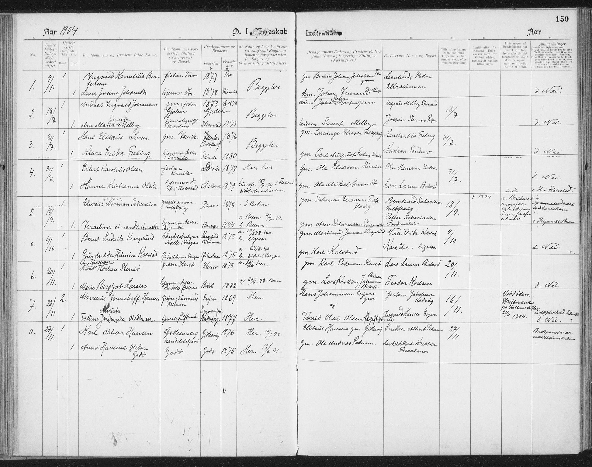 SAT, Ministerialprotokoller, klokkerbøker og fødselsregistre - Nordland, 804/L0081: Ministerialbok nr. 804A02, 1901-1915, s. 150