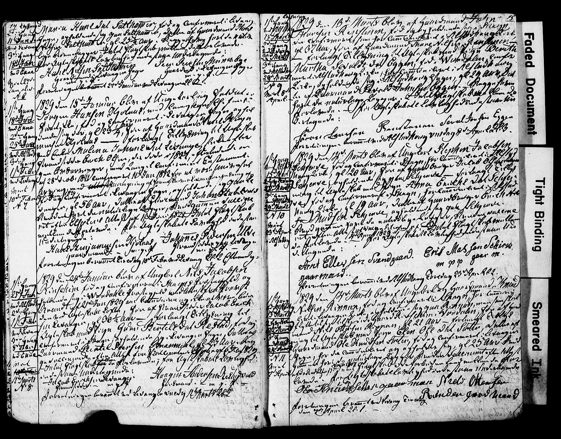 SAT, Ministerialprotokoller, klokkerbøker og fødselsregistre - Nord-Trøndelag, 717/L0160: Forlovererklæringer nr. 717A10, 1828-1850, s. 14-15