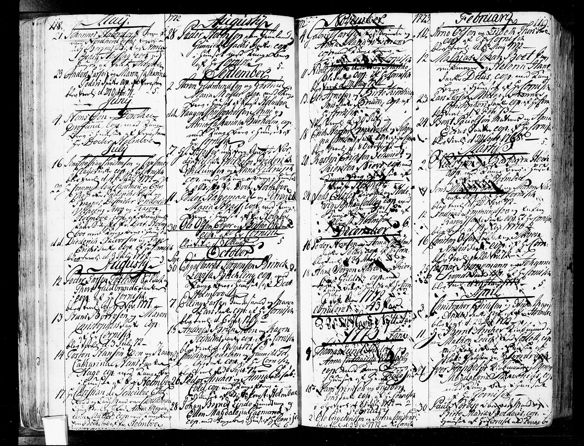 SAO, Oslo domkirke Kirkebøker, F/Fa/L0004: Ministerialbok nr. 4, 1743-1786, s. 118-119