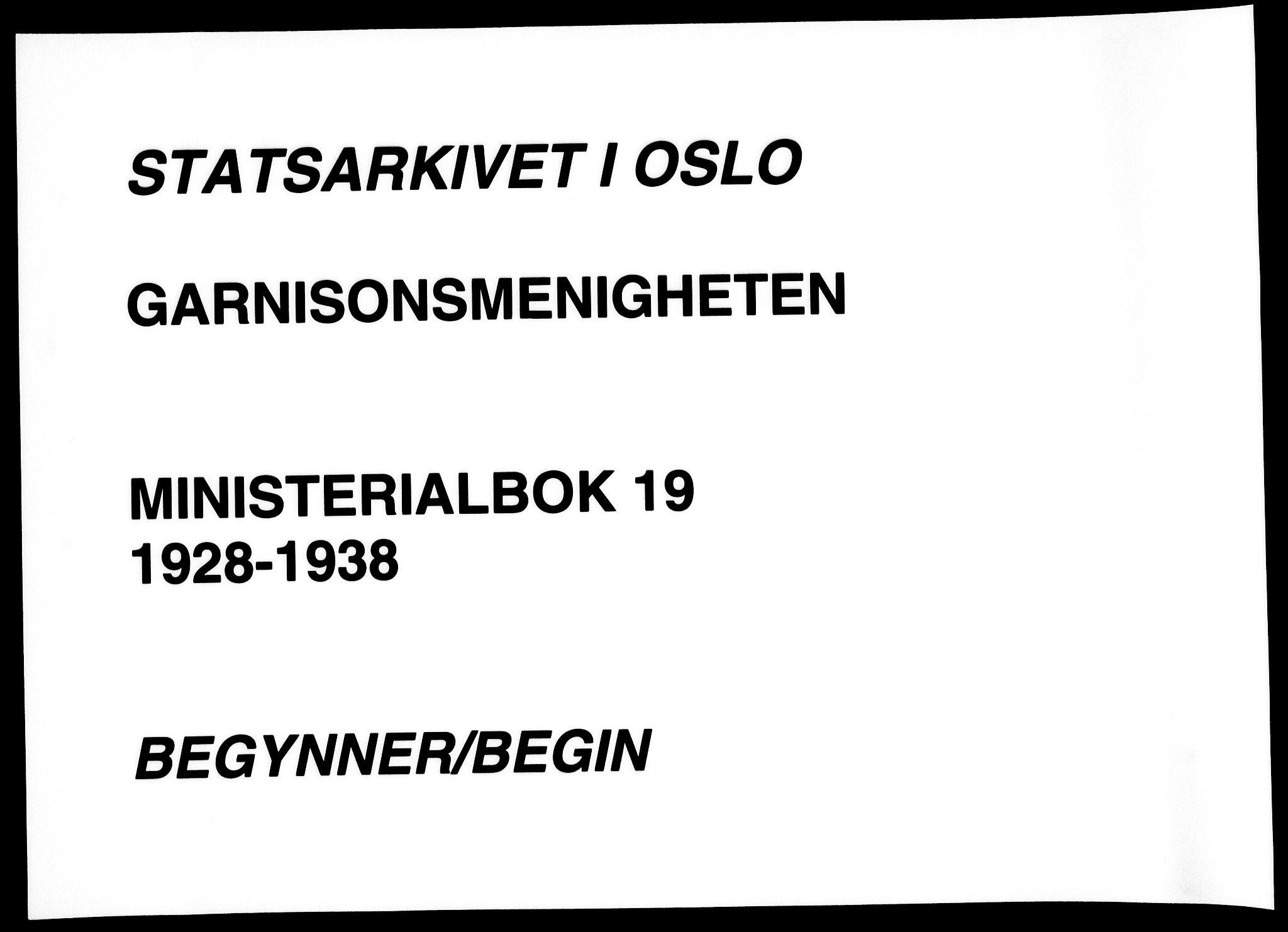 SAO, Garnisonsmenigheten Kirkebøker, F/Fa/L0019: Ministerialbok nr. 19, 1928-1938