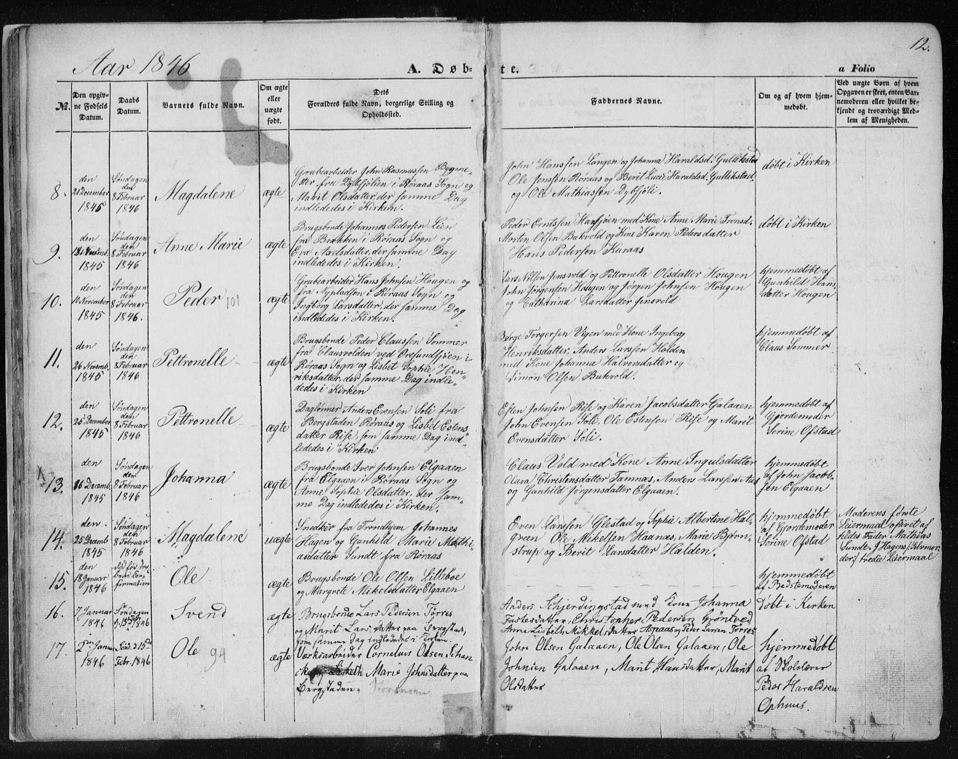 SAT, Ministerialprotokoller, klokkerbøker og fødselsregistre - Sør-Trøndelag, 681/L0931: Ministerialbok nr. 681A09, 1845-1859, s. 12