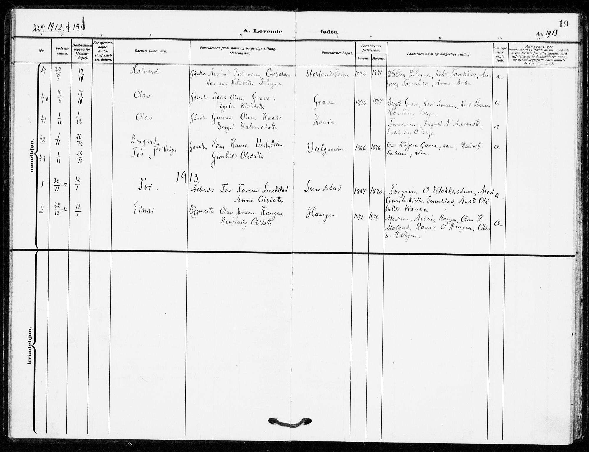 SAKO, Bø kirkebøker, F/Fa/L0013: Ministerialbok nr. 13, 1909-1921, s. 19
