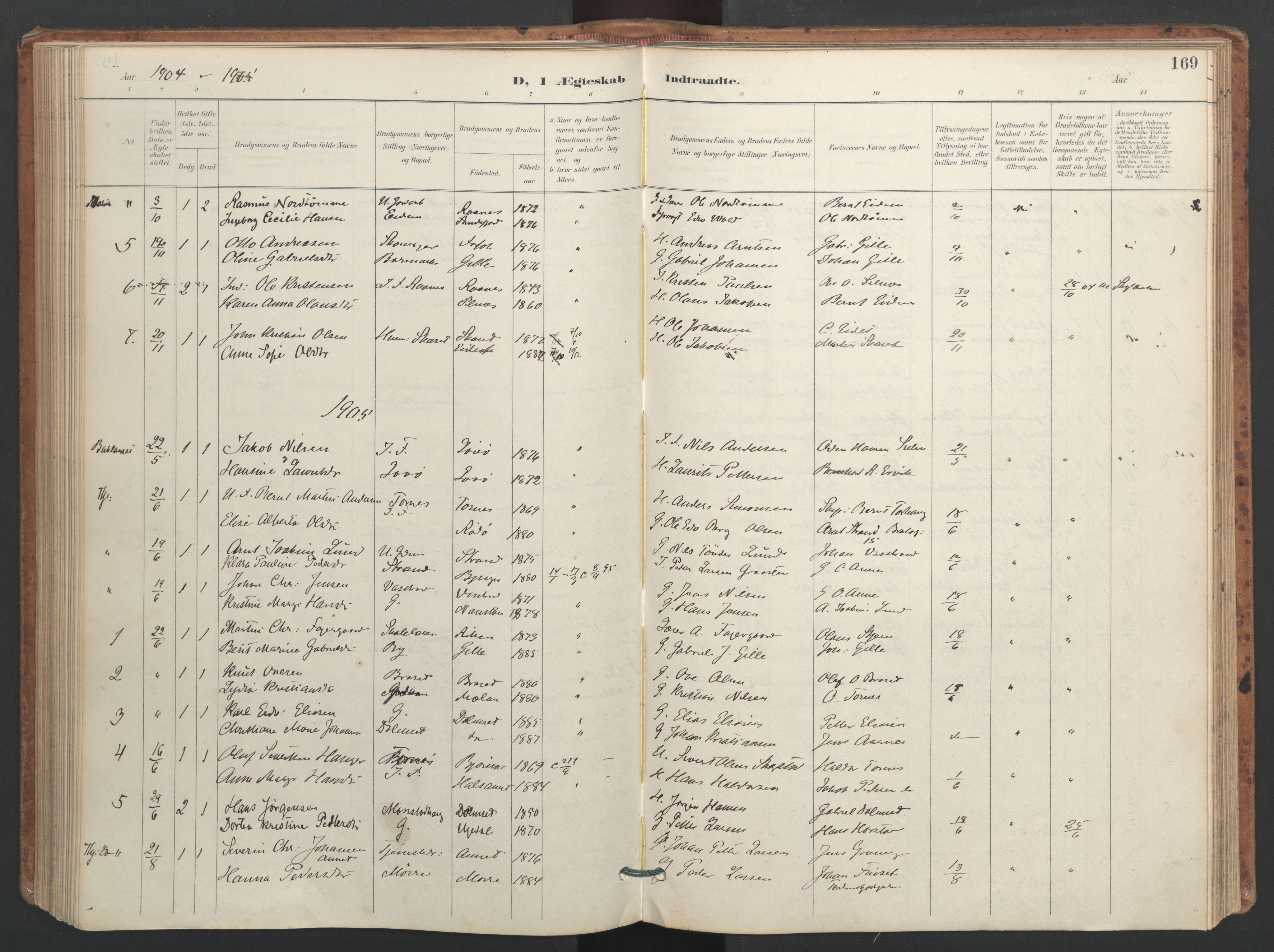 SAT, Ministerialprotokoller, klokkerbøker og fødselsregistre - Sør-Trøndelag, 655/L0681: Ministerialbok nr. 655A10, 1895-1907, s. 169