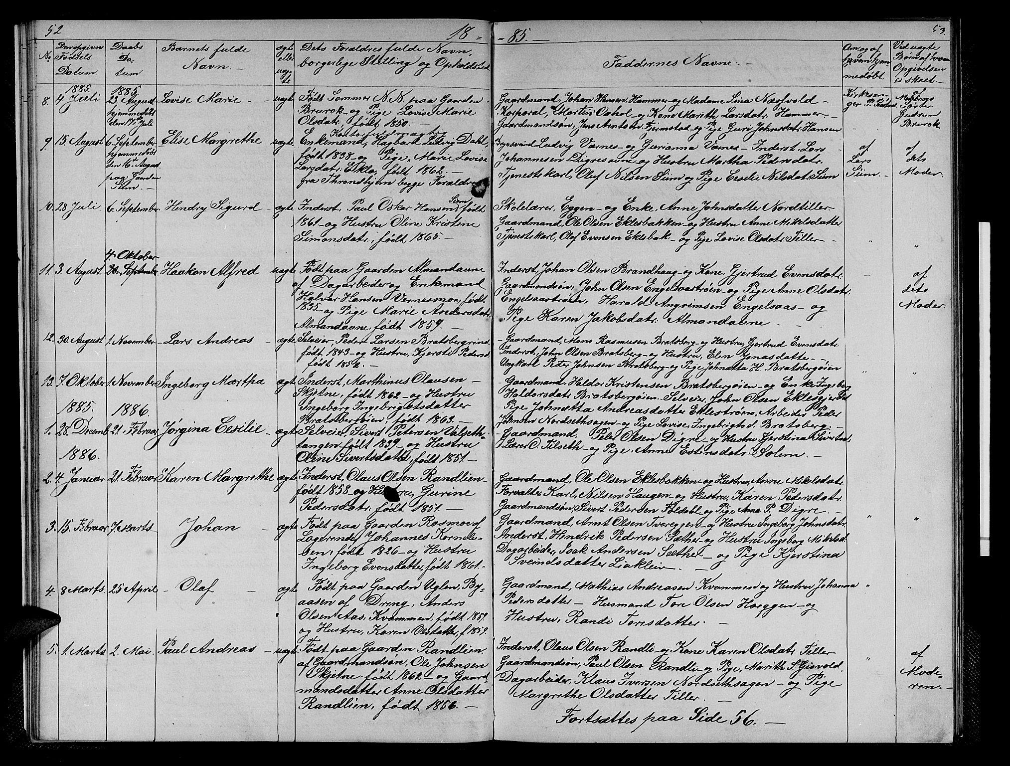 SAT, Ministerialprotokoller, klokkerbøker og fødselsregistre - Sør-Trøndelag, 608/L0340: Klokkerbok nr. 608C06, 1864-1889, s. 52-53