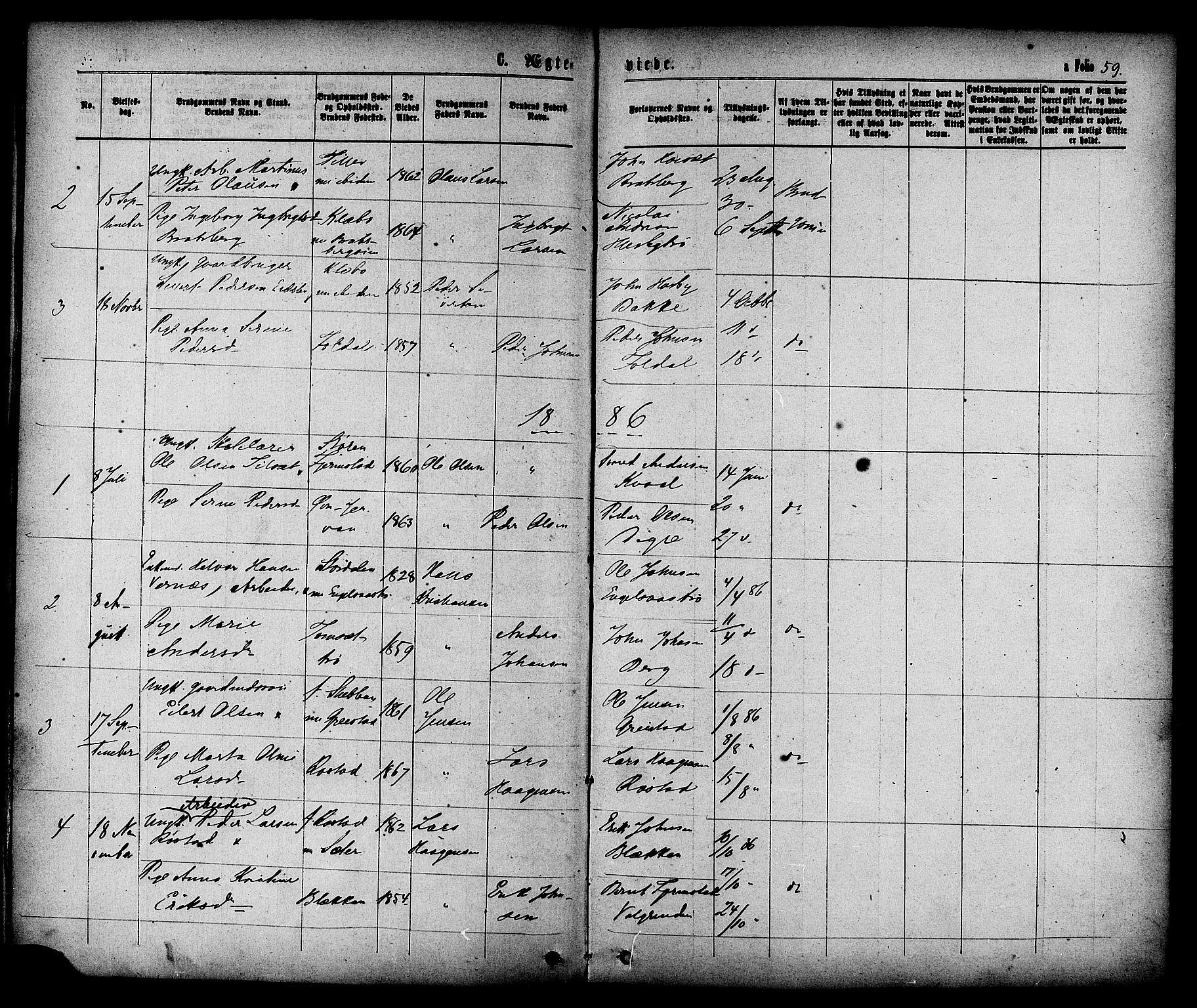 SAT, Ministerialprotokoller, klokkerbøker og fødselsregistre - Sør-Trøndelag, 608/L0334: Ministerialbok nr. 608A03, 1877-1886, s. 59
