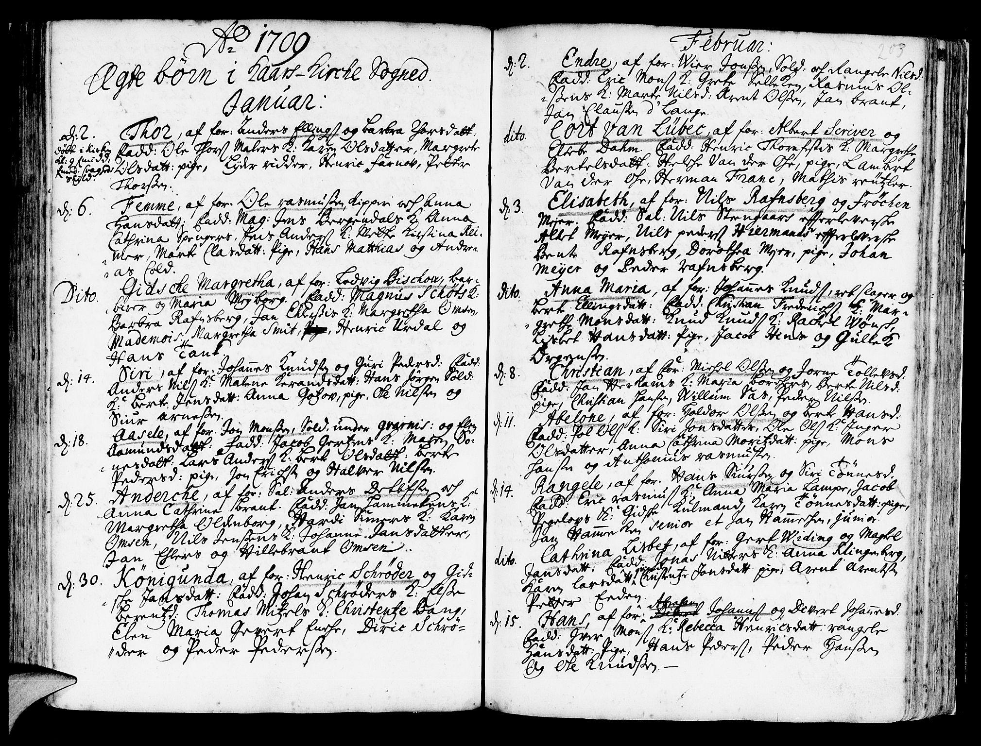 SAB, Korskirken Sokneprestembete, H/Haa/L0003: Ministerialbok nr. A 3, 1698-1719, s. 203
