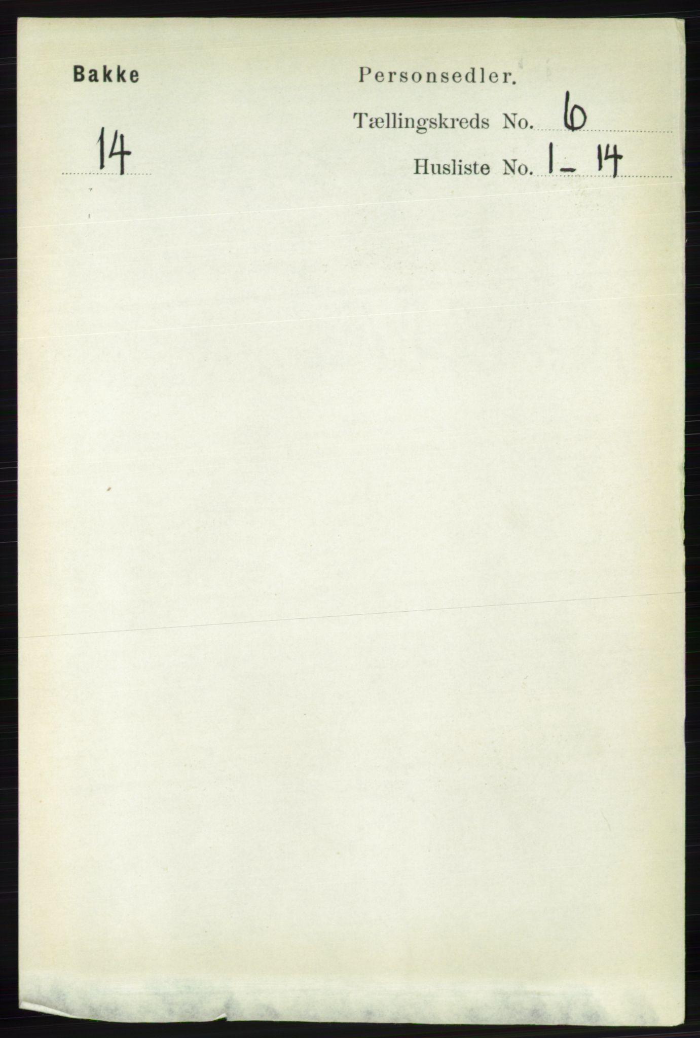 RA, Folketelling 1891 for 1045 Bakke herred, 1891, s. 1171
