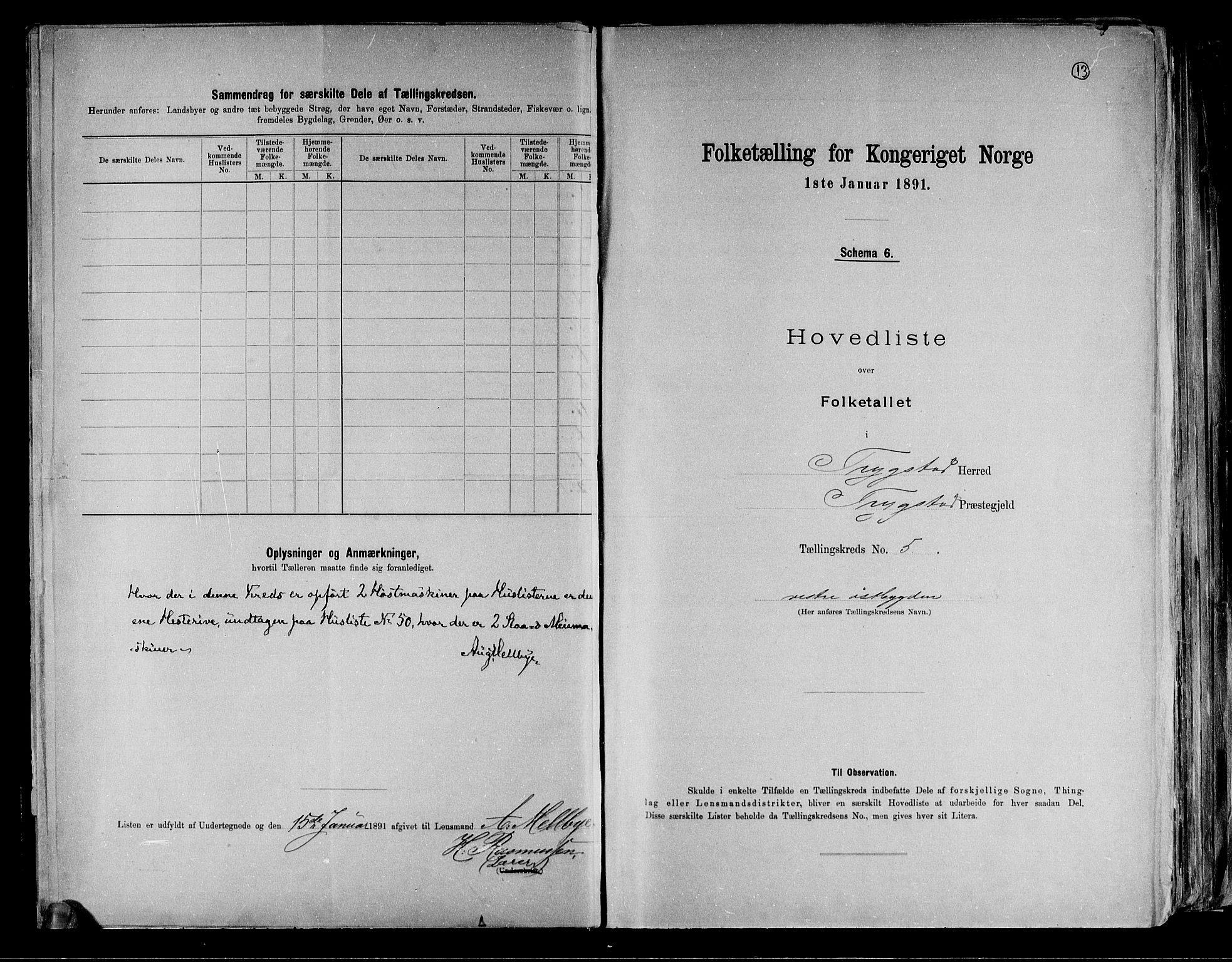 RA, Folketelling 1891 for 0122 Trøgstad herred, 1891, s. 13