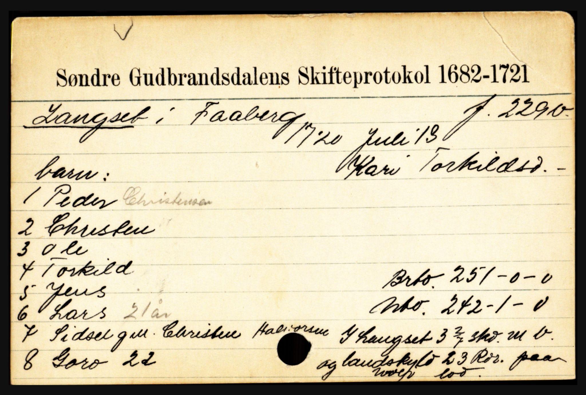 SAH, Sør-Gudbrandsdal tingrett, J, 1658-1885, s. 6997