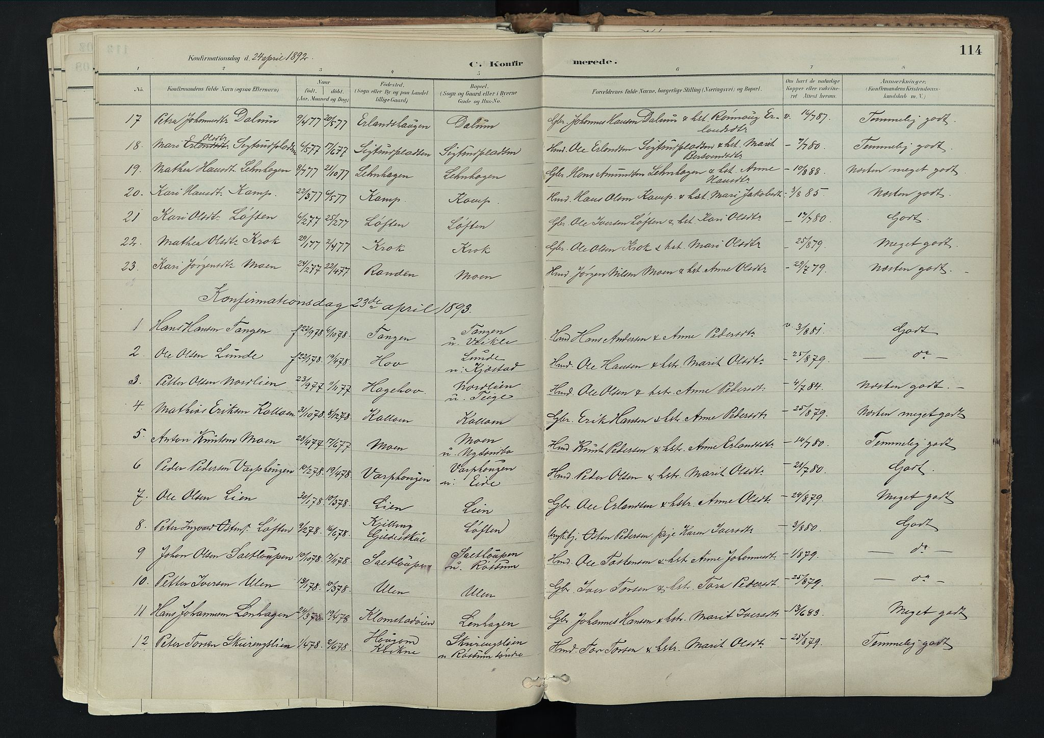 SAH, Nord-Fron prestekontor, Ministerialbok nr. 3, 1884-1914, s. 114