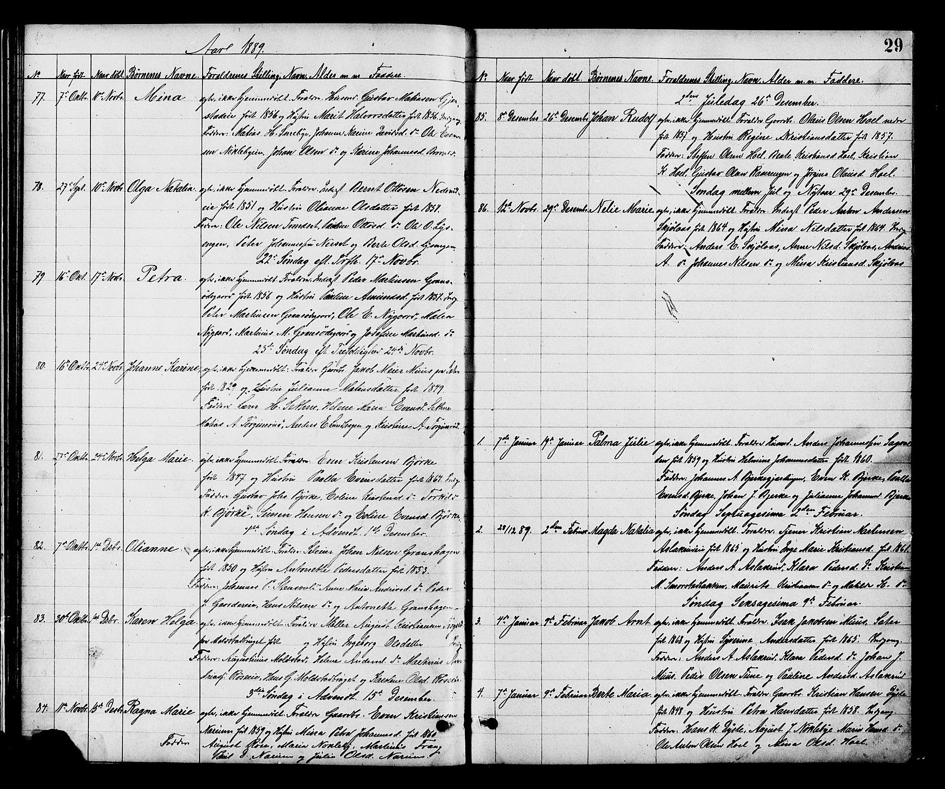 SAH, Vestre Toten prestekontor, H/Ha/Hab/L0008: Klokkerbok nr. 8, 1885-1900, s. 29