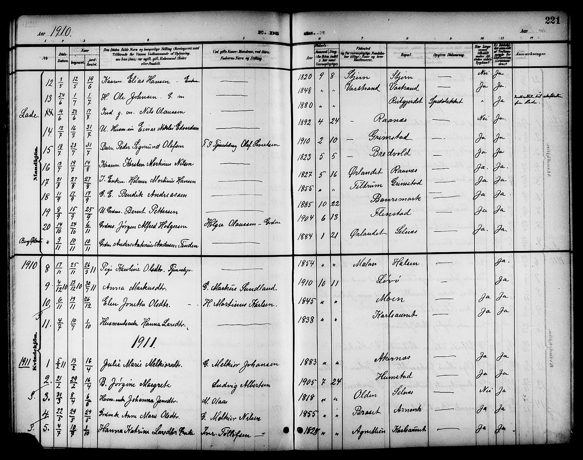 SAT, Ministerialprotokoller, klokkerbøker og fødselsregistre - Sør-Trøndelag, 655/L0688: Klokkerbok nr. 655C04, 1899-1922, s. 221